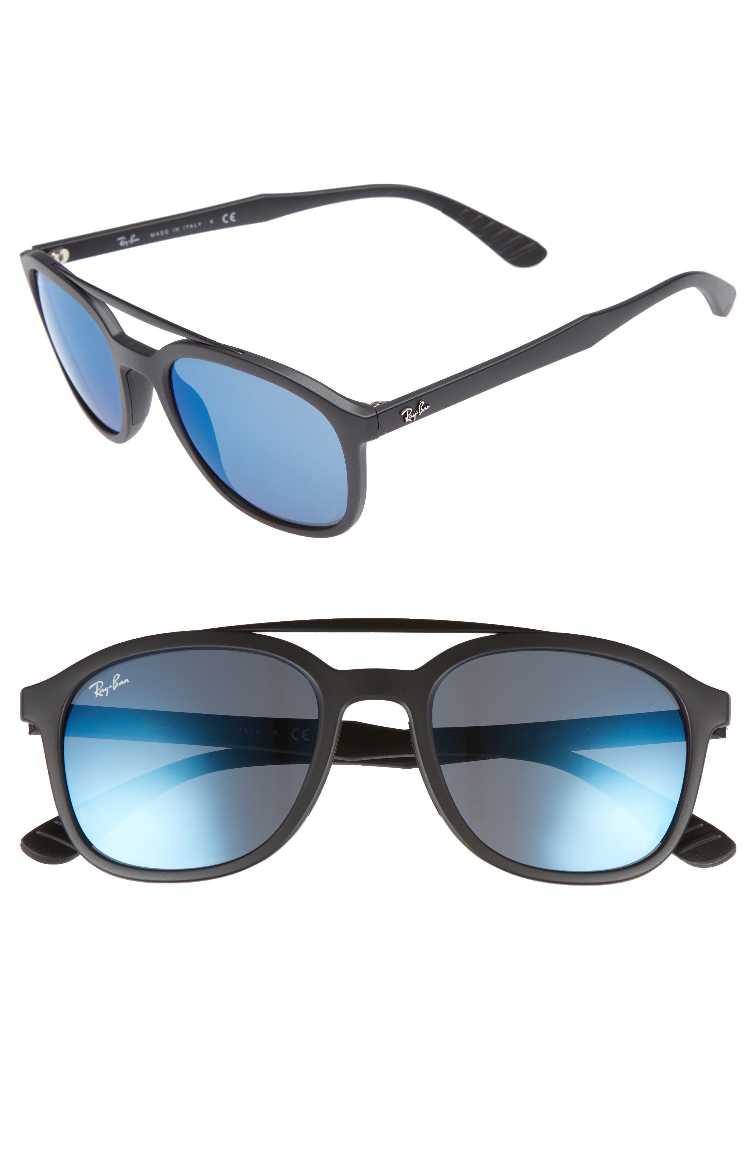 Active Lifestyle 53mm Sunglasses,                         Main,                         color, BLACK/ BLUE