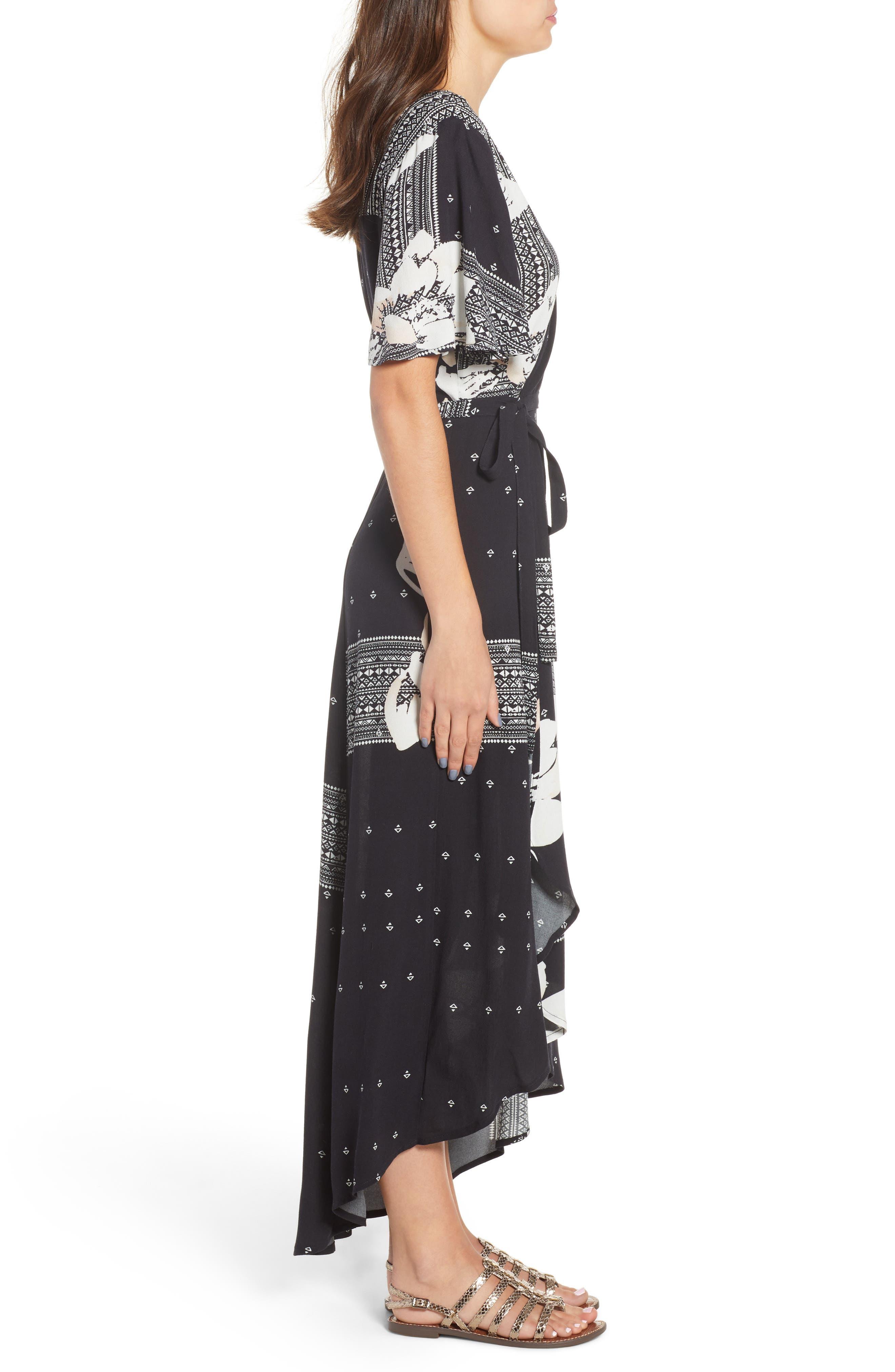 Alamante Print Wrap Dress,                             Alternate thumbnail 3, color,                             001