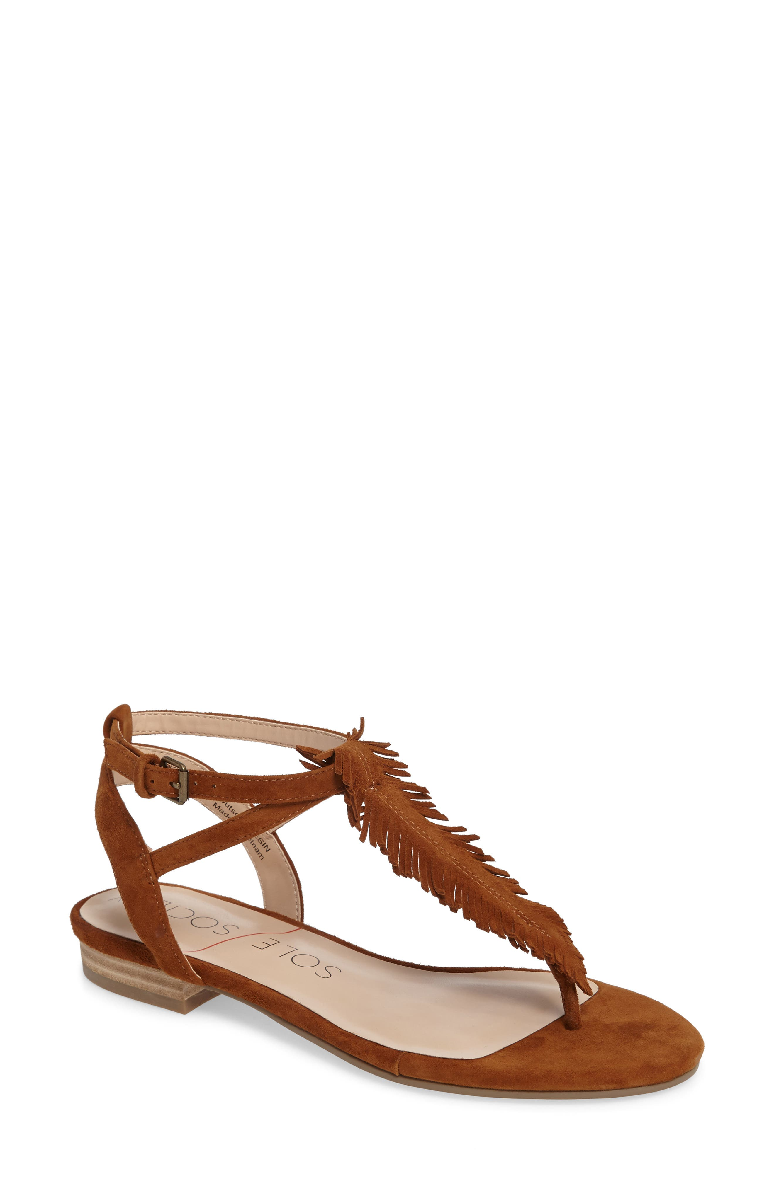 Mara Fringe Thong Sandal,                         Main,                         color, 210