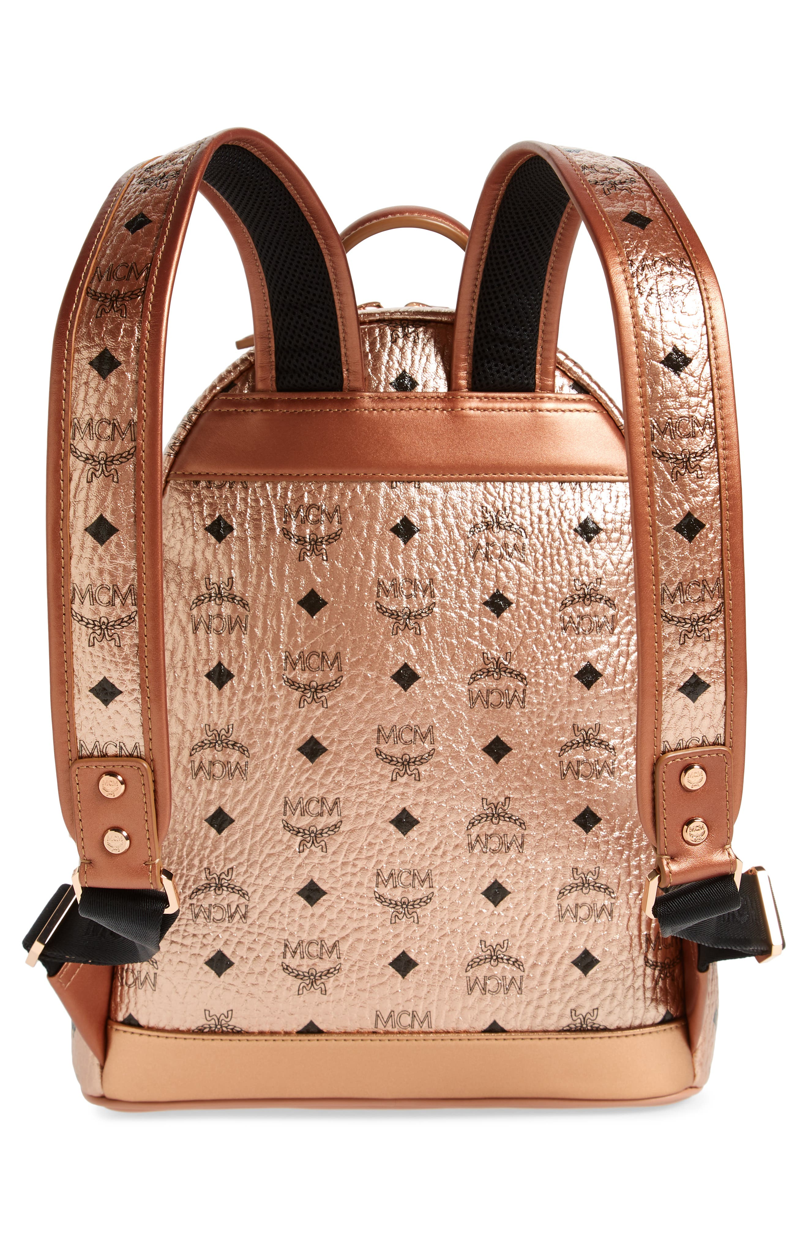 Small Stark Side Stud Coated Canvas Backpack,                             Alternate thumbnail 3, color,                             CHAMPAGNE GOLD