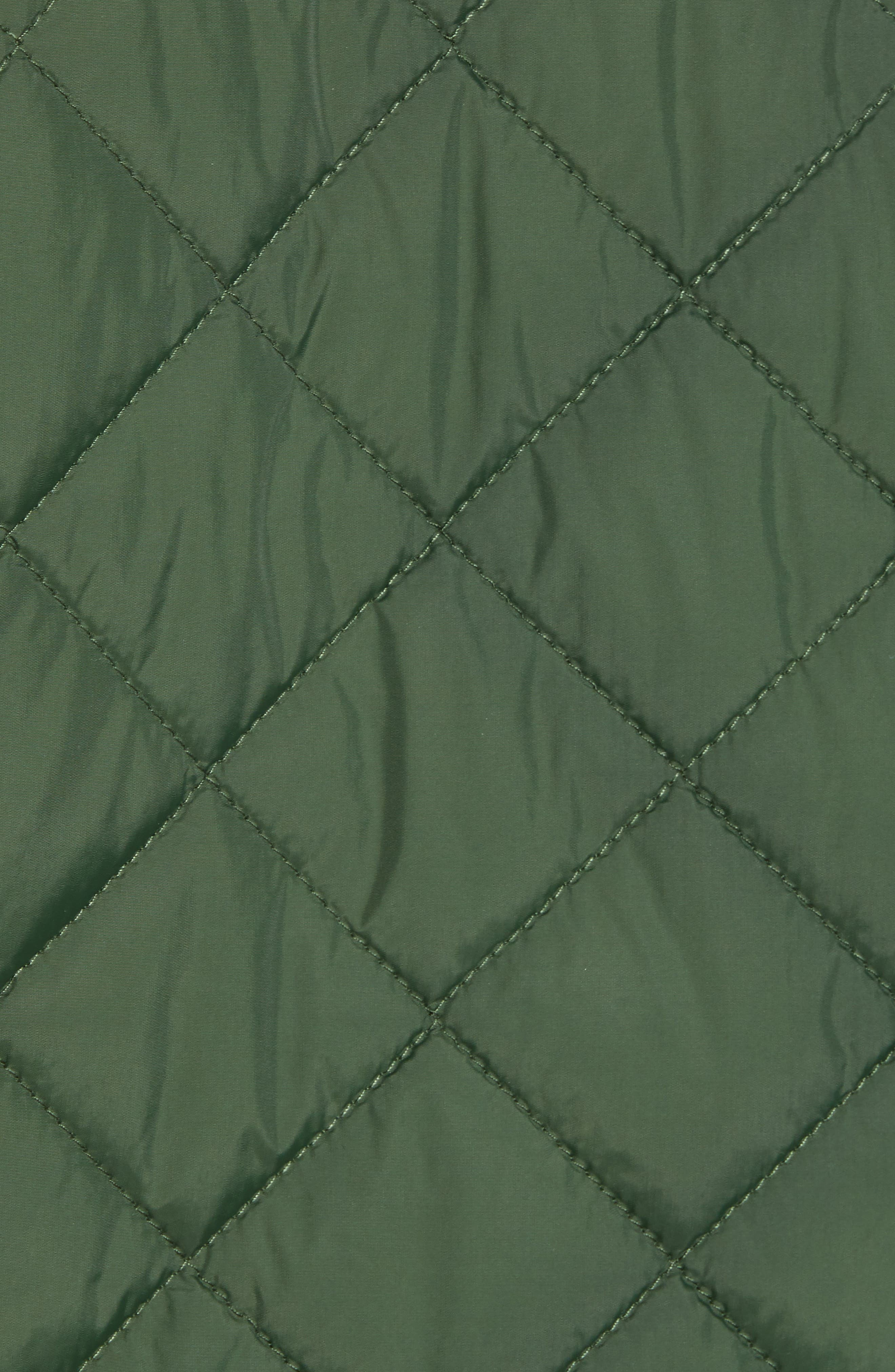 Diamond Quilted Full Zip Jacket,                             Alternate thumbnail 7, color,                             OLIVE