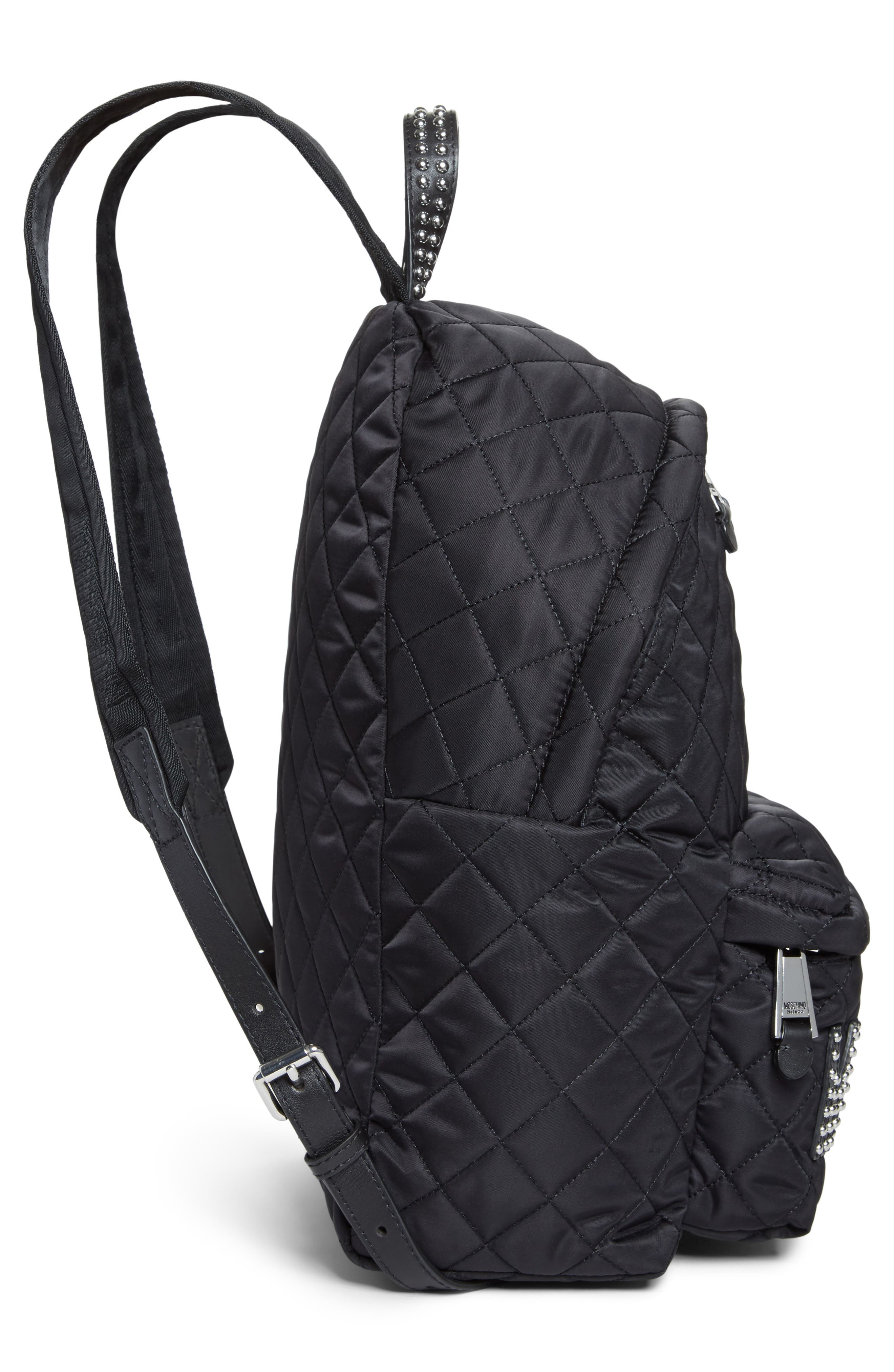Studded Logo Quilted Nylon Backpack,                             Alternate thumbnail 5, color,                             115