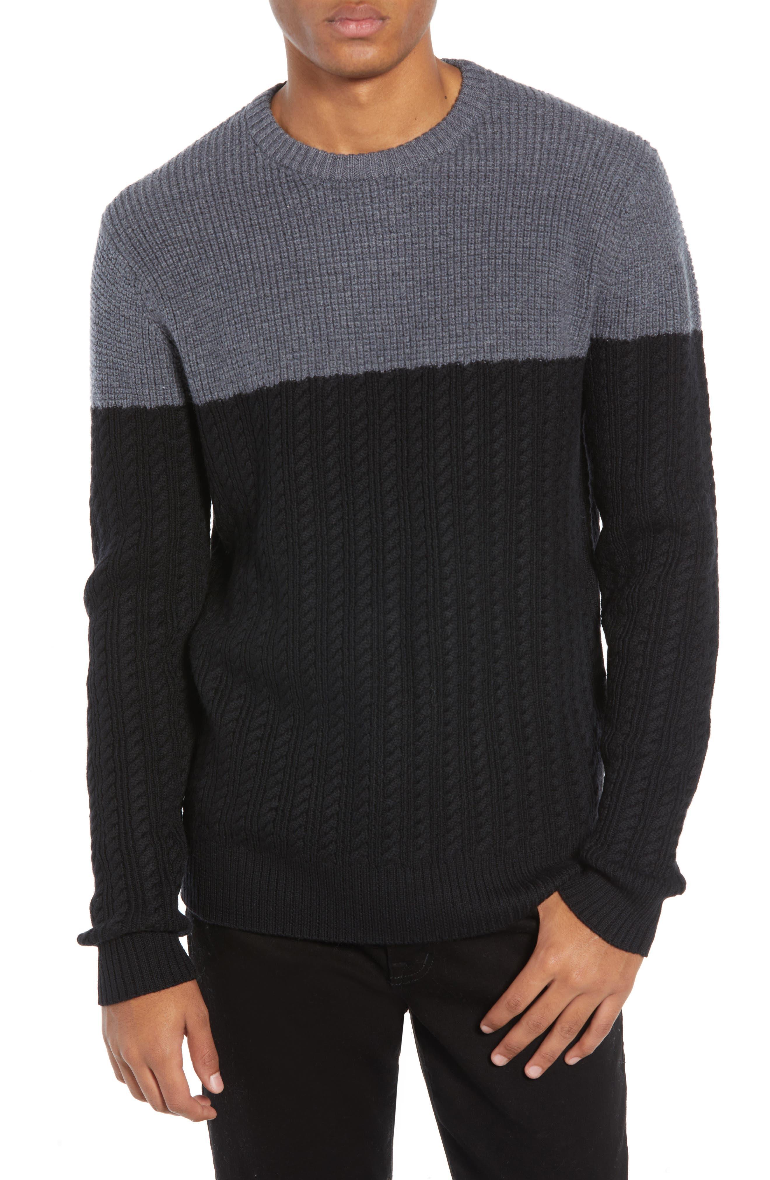 Block Merino Wool Cable Knit Sweater,                             Main thumbnail 1, color,                             BLACK CAVIAR COLORBLOCK