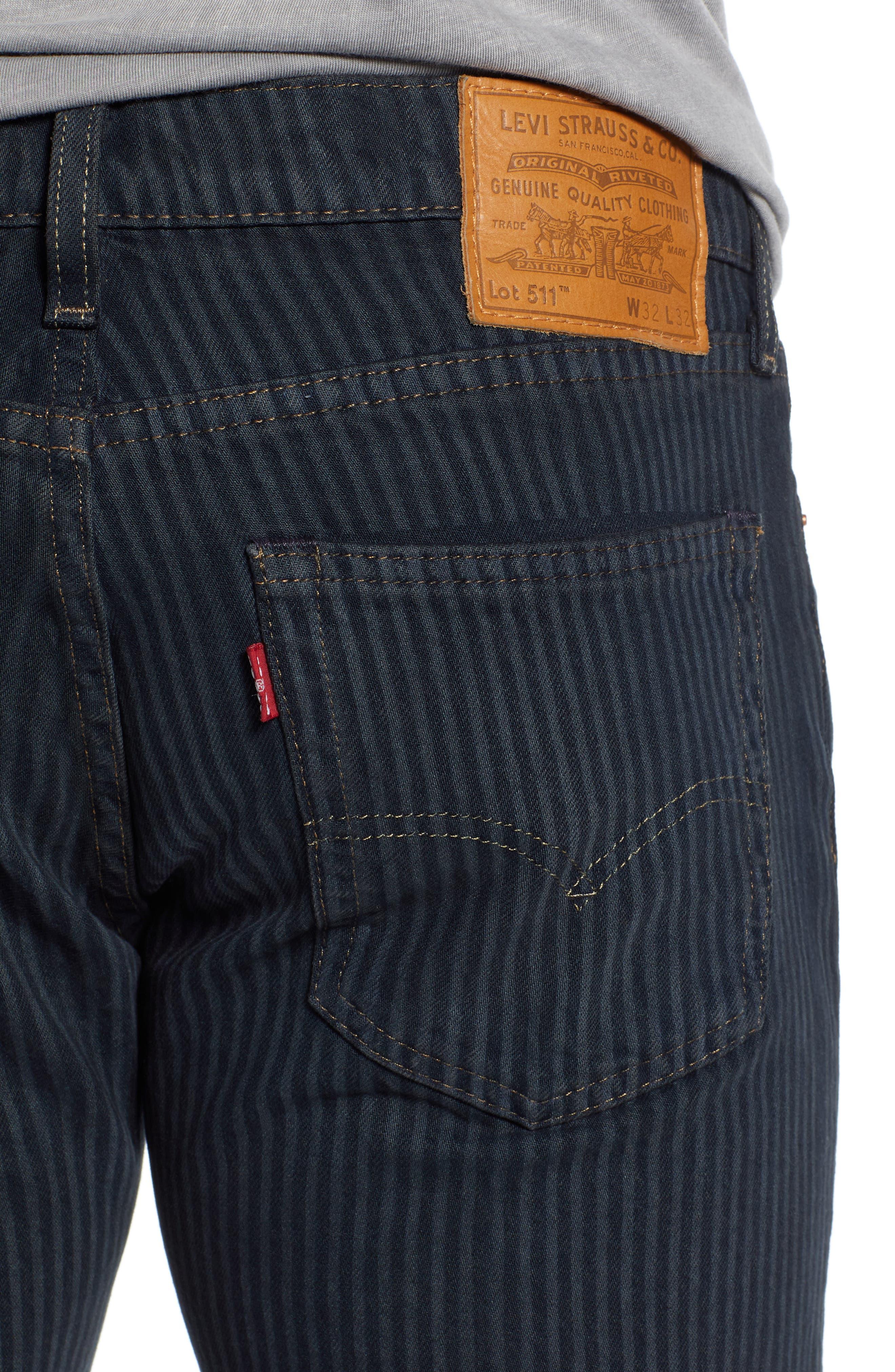 511<sup>™</sup> Stripe Slim Fit Jeans,                             Alternate thumbnail 4, color,                             PAUPER