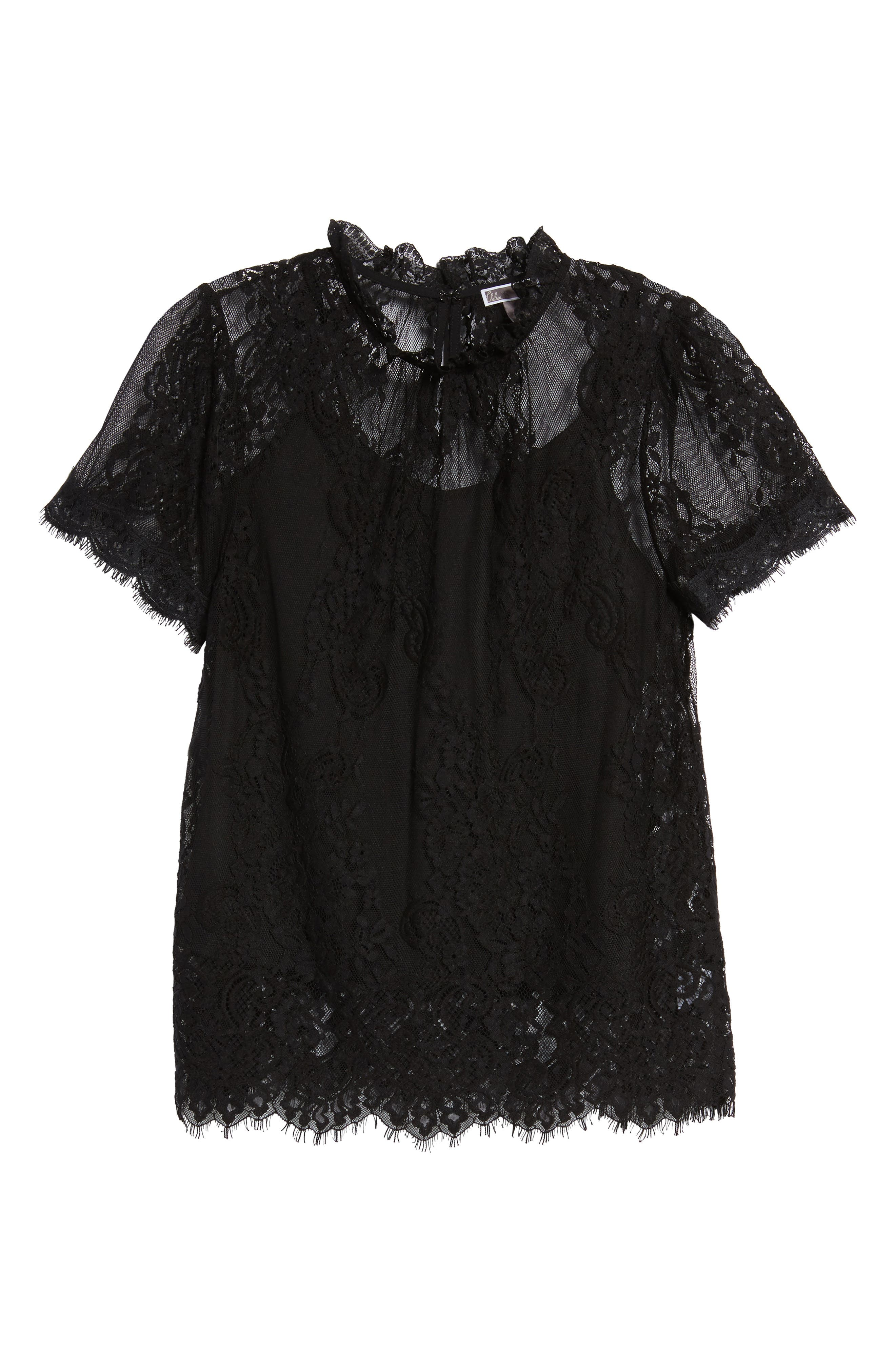 Lace Ruffle Collar Blouse,                             Alternate thumbnail 6, color,                             BLACK
