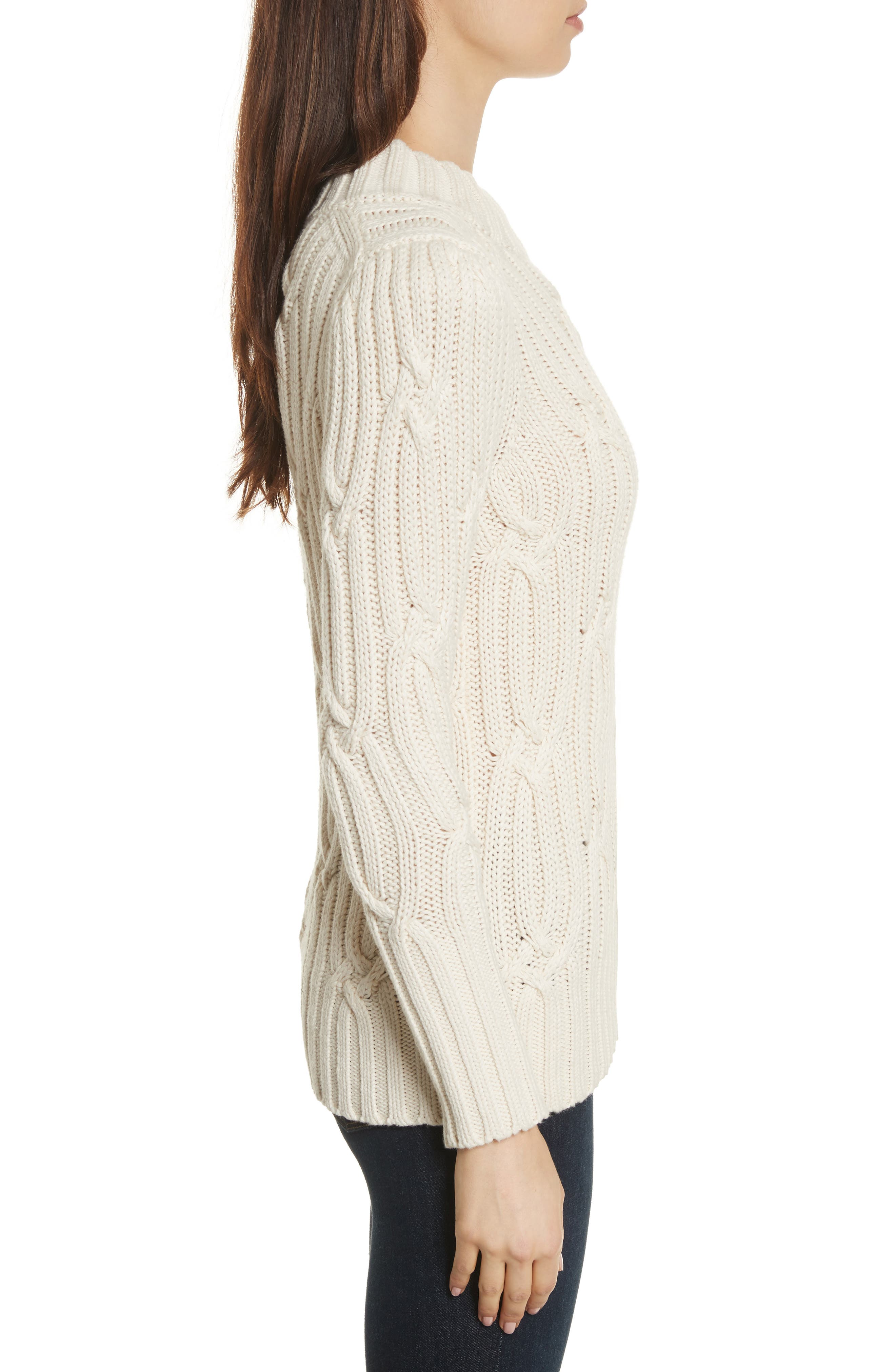 Cable Knit Sweater,                             Alternate thumbnail 3, color,                             113
