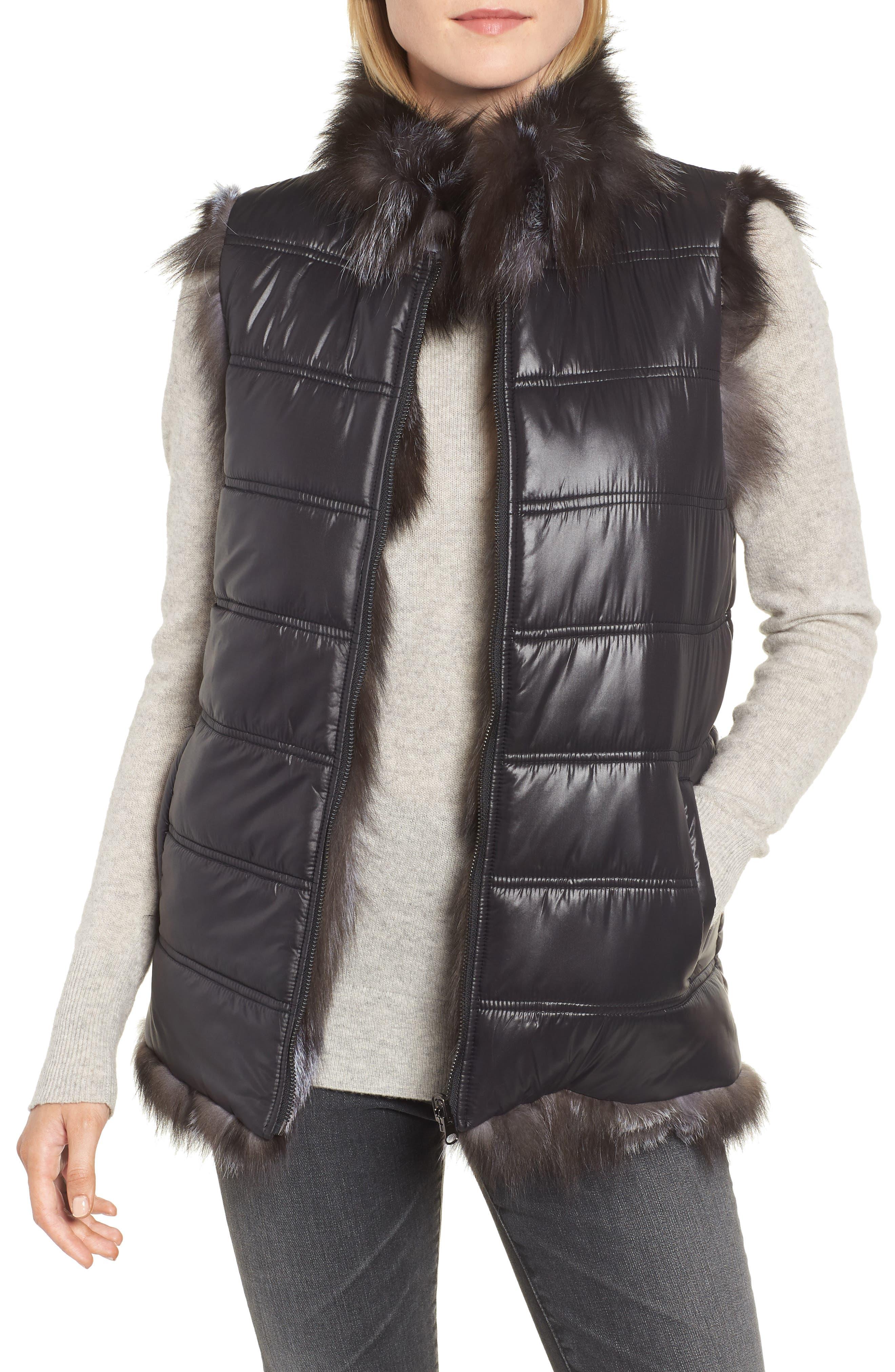 LINDA RICHARDS Reversible Genuine Silver Fox Fur Vest, Main, color, BLACK/ SILVER
