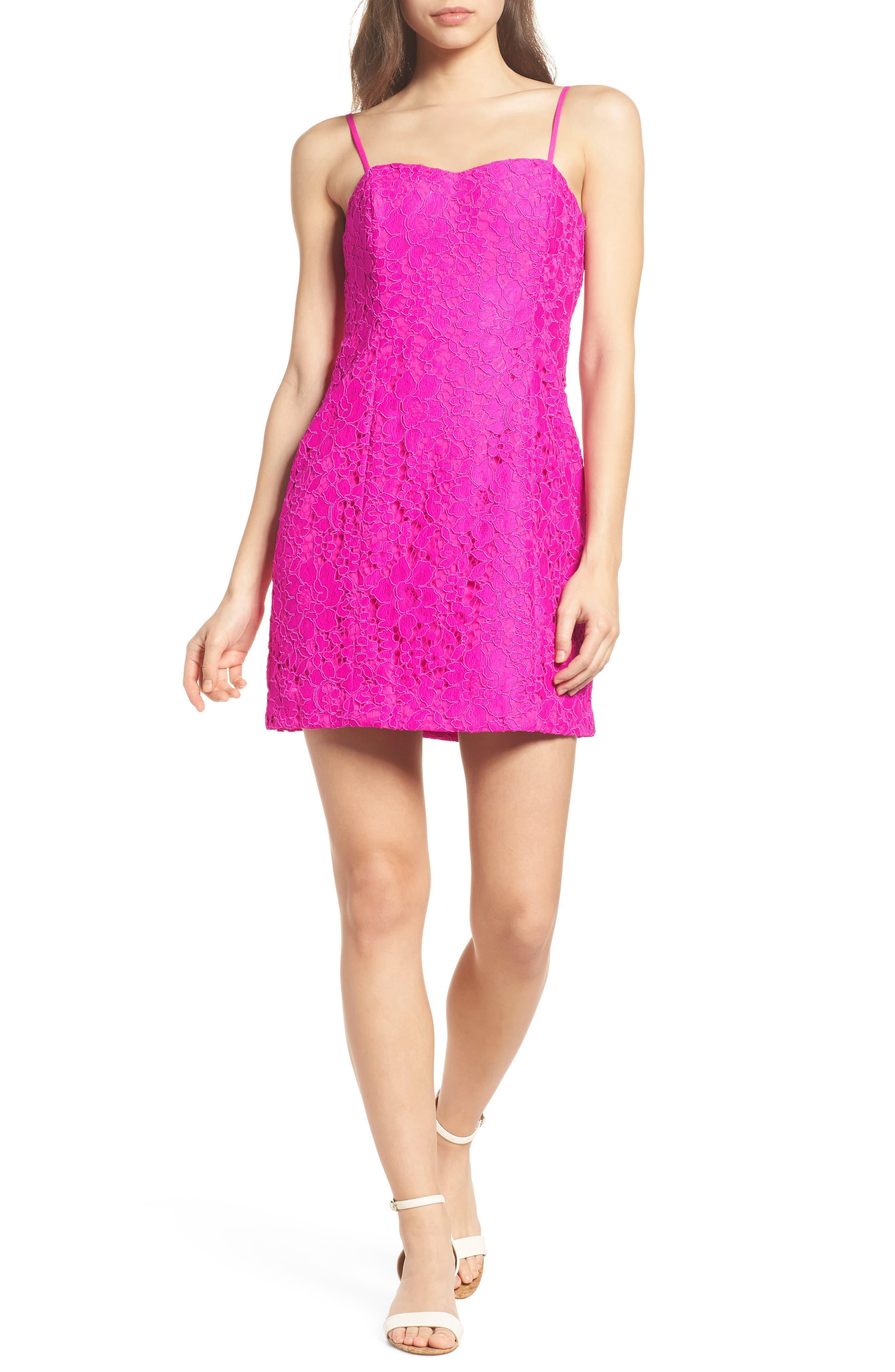 Demi Lace Dress,                             Alternate thumbnail 5, color,                             BERRY SANGRIA FLORAL LACE