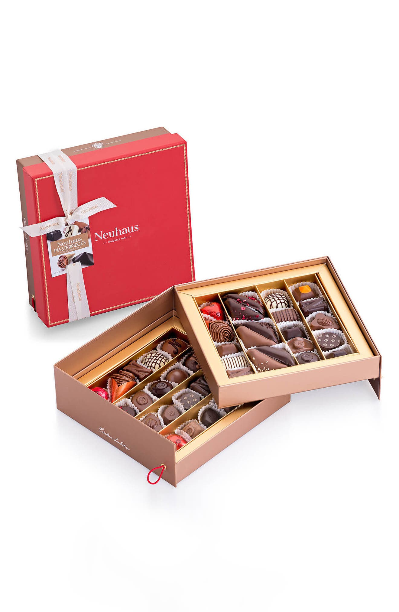 40-Piece Luxury Tiered Praline Gift Box,                             Main thumbnail 1, color,                             RED