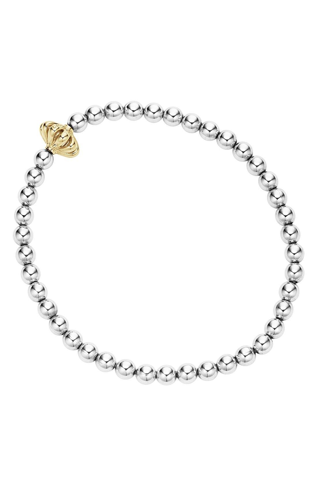 LAGOS Caviar Icon Ball Bracelet, Main, color, SILVER/ GOLD BIRDCAGE