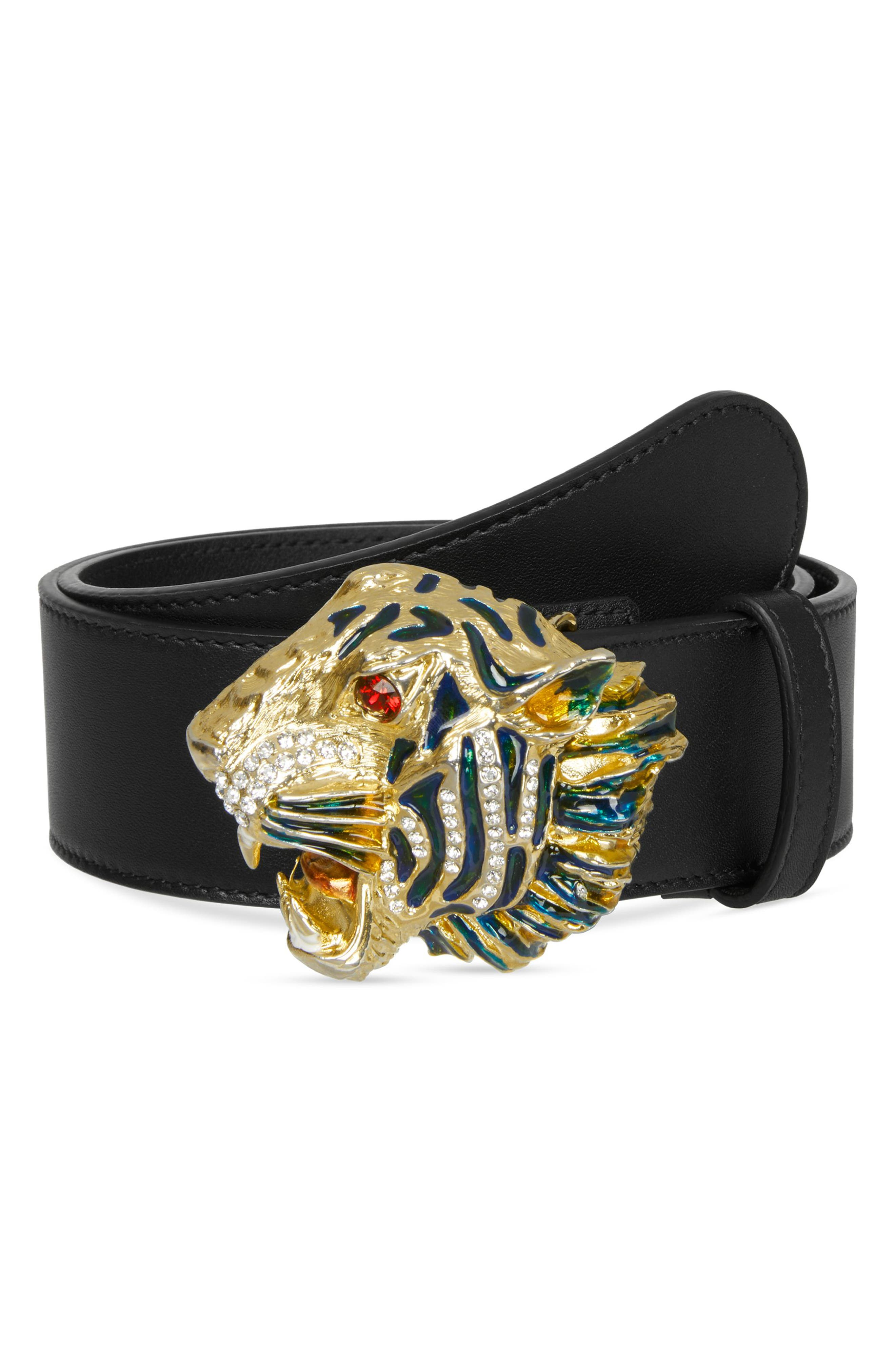 Gucci Crystal Tiger Head Leather Belt, Nero/ Multi