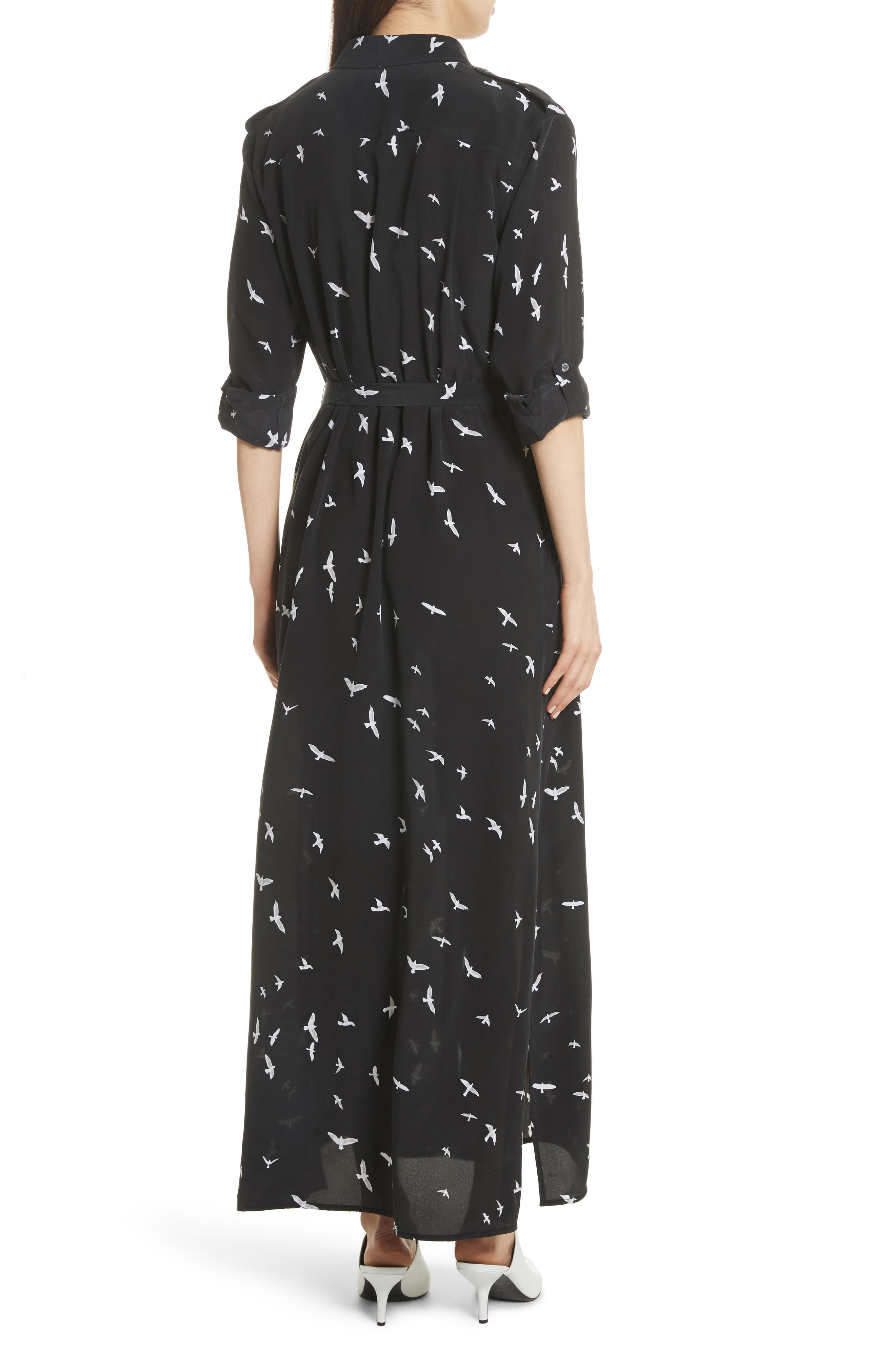 Bird Print Silk Maxi Dress,                             Alternate thumbnail 2, color,                             003