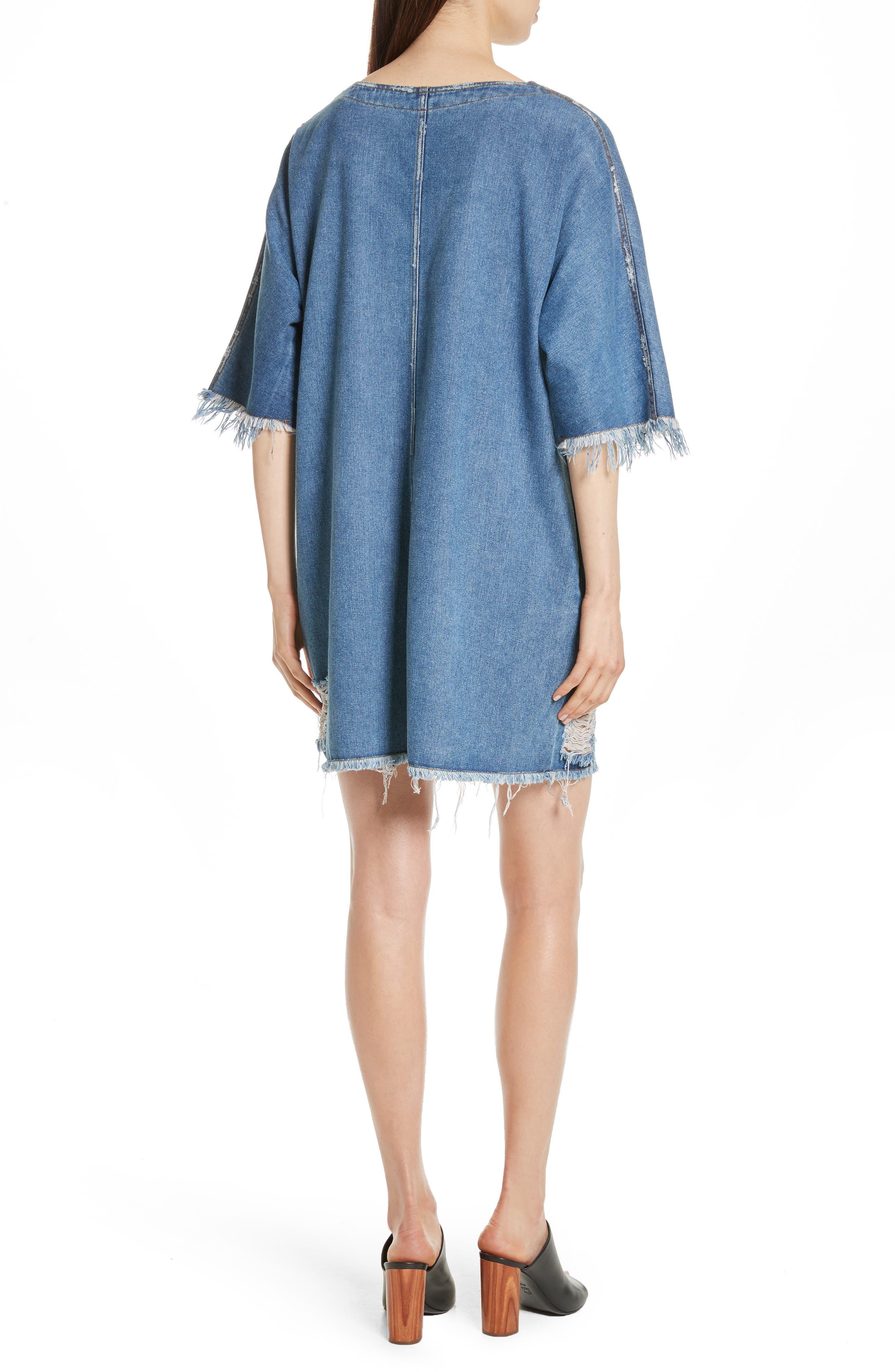 Distressed Denim Dress,                             Alternate thumbnail 2, color,                             400
