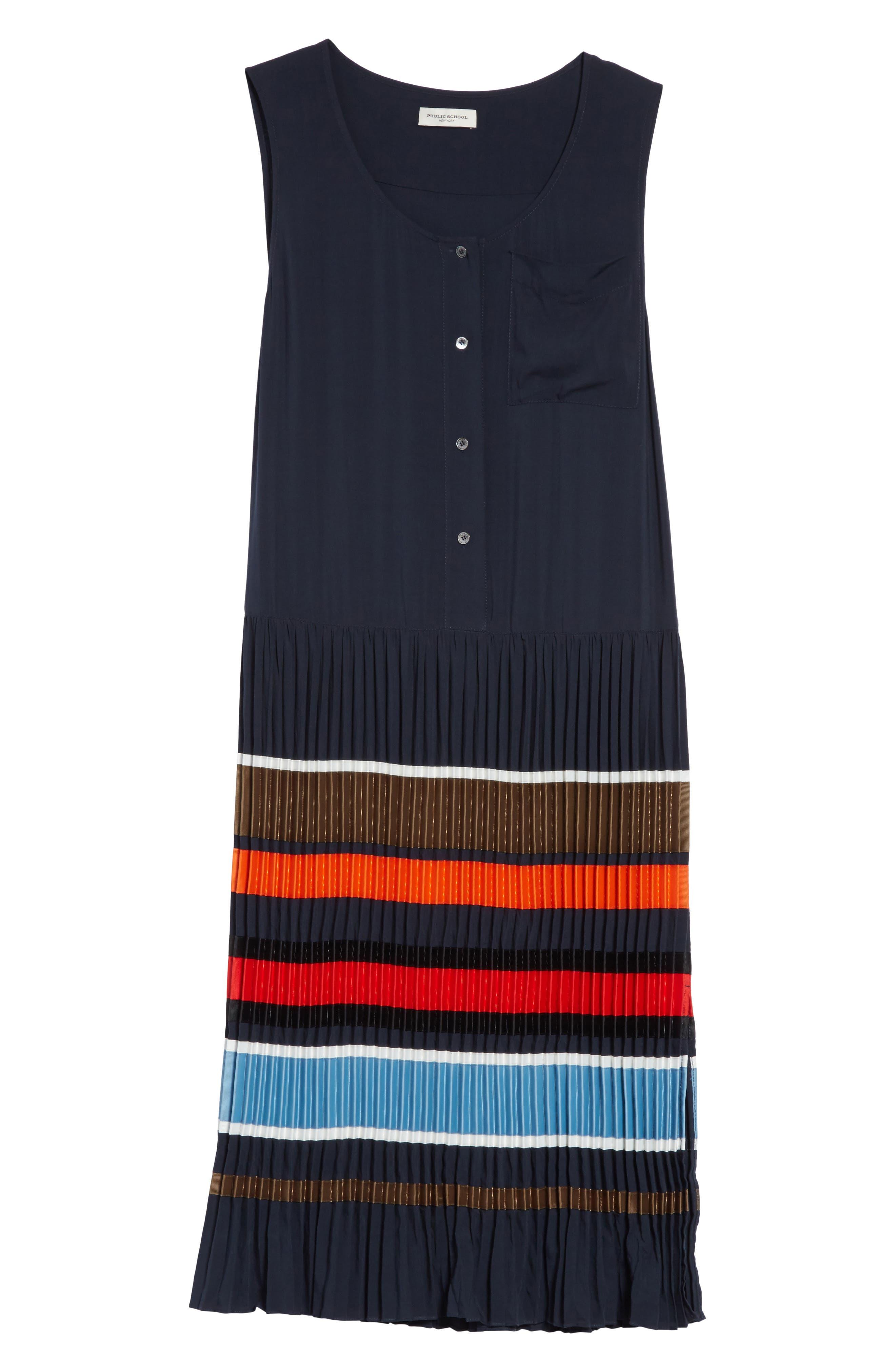 Jama Pleated Stripe Dress,                             Alternate thumbnail 6, color,                             401