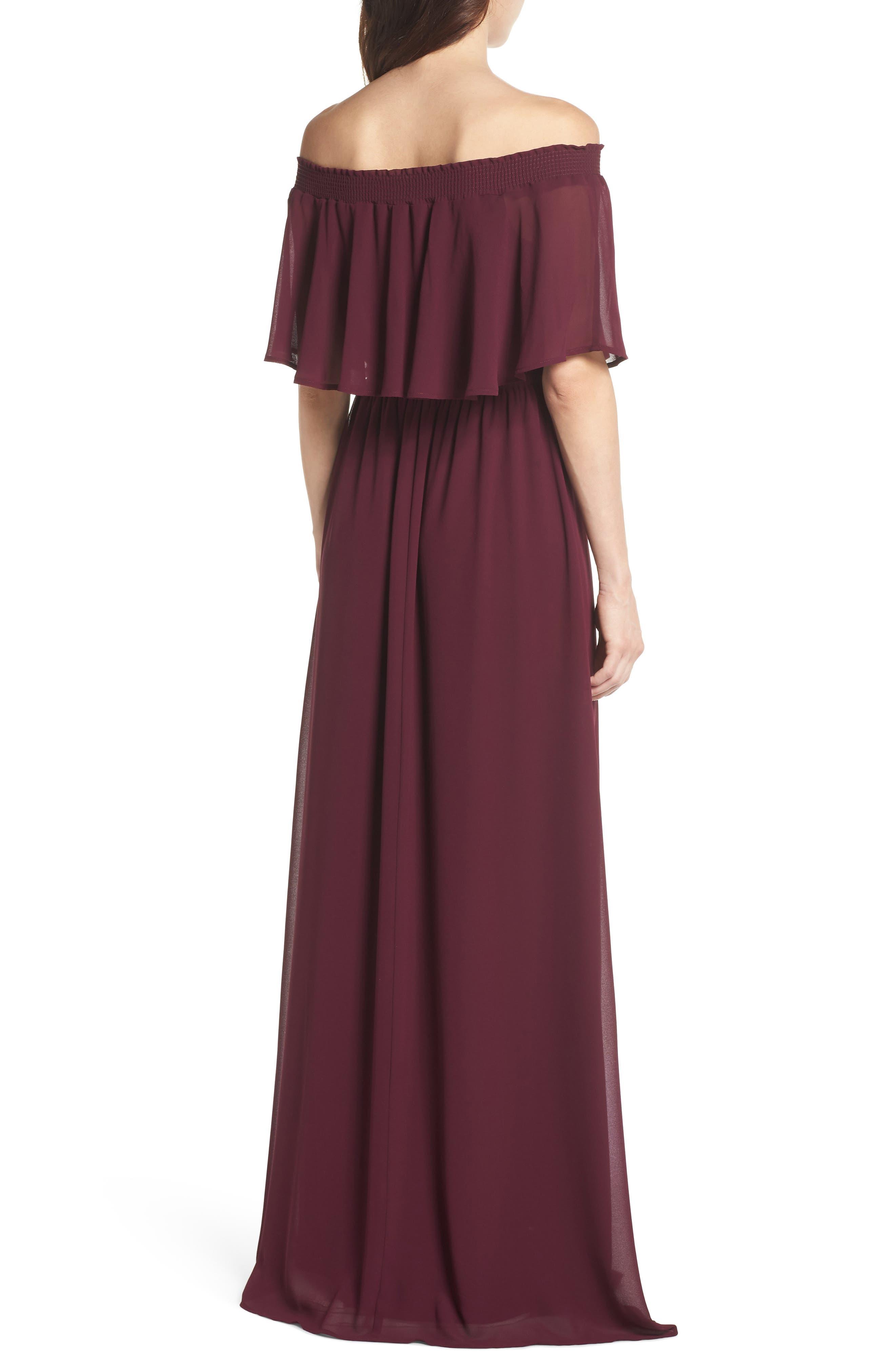 Hacienda Convertible Gown,                             Alternate thumbnail 2, color,                             MERLOT CHIFFON