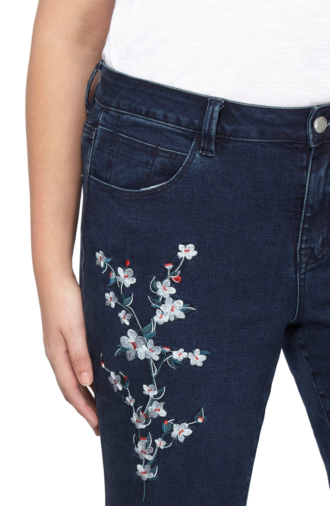 Embroidered Straight Leg Jeans,                             Alternate thumbnail 3, color,                             400