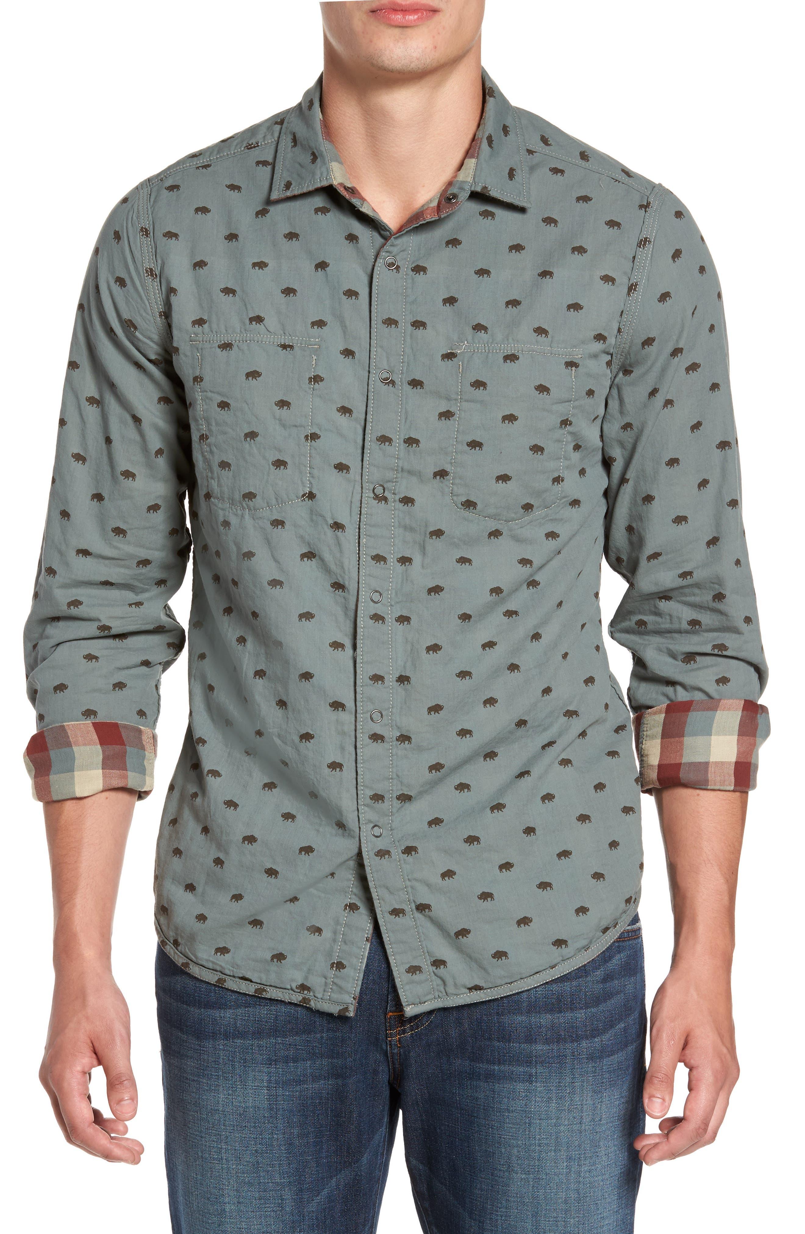 Reversible Regular Fit Sport Shirt,                             Alternate thumbnail 4, color,                             424