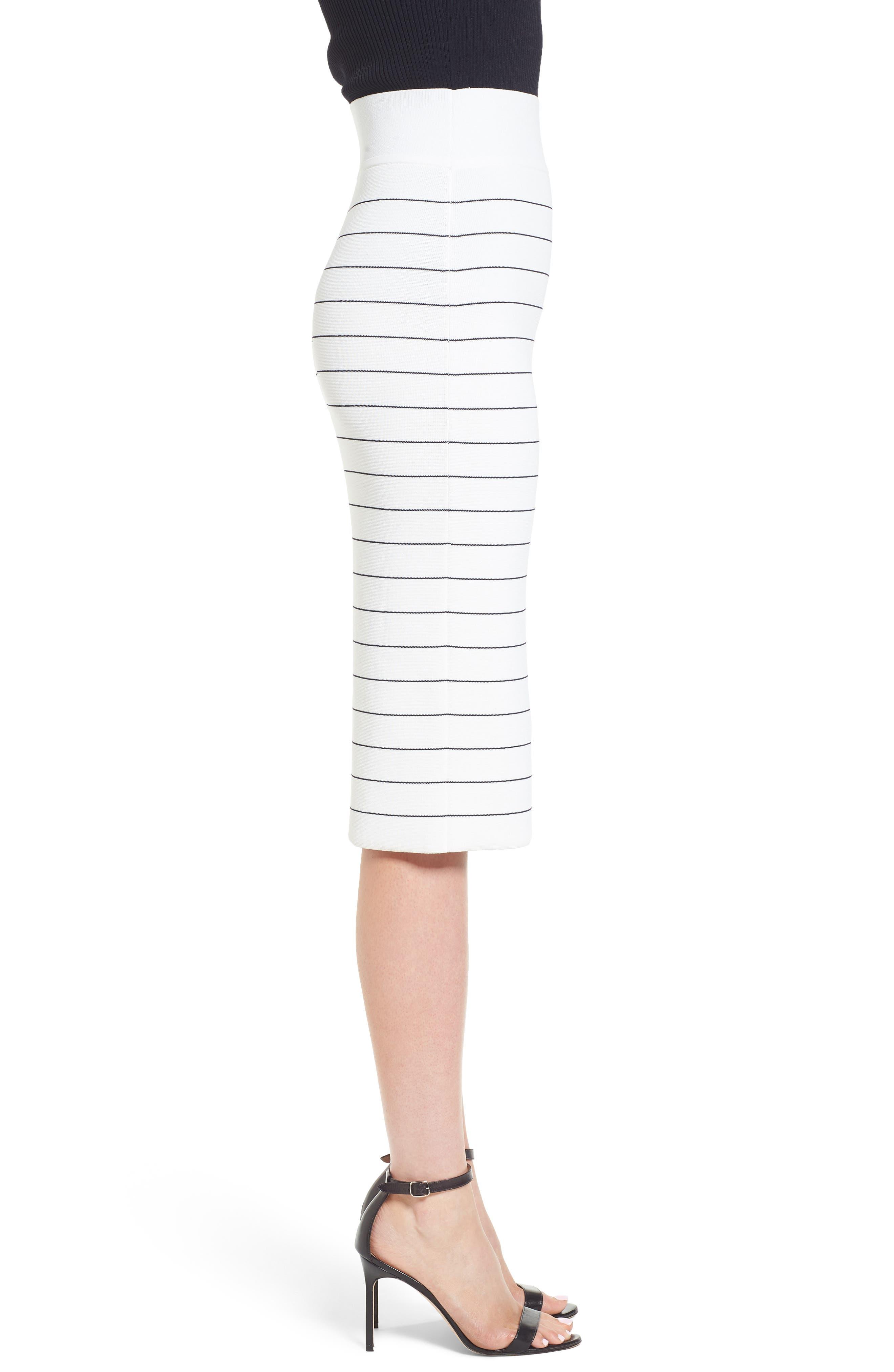 Fairuza Stripe Knit Pencil Skirt,                             Alternate thumbnail 3, color,                             170