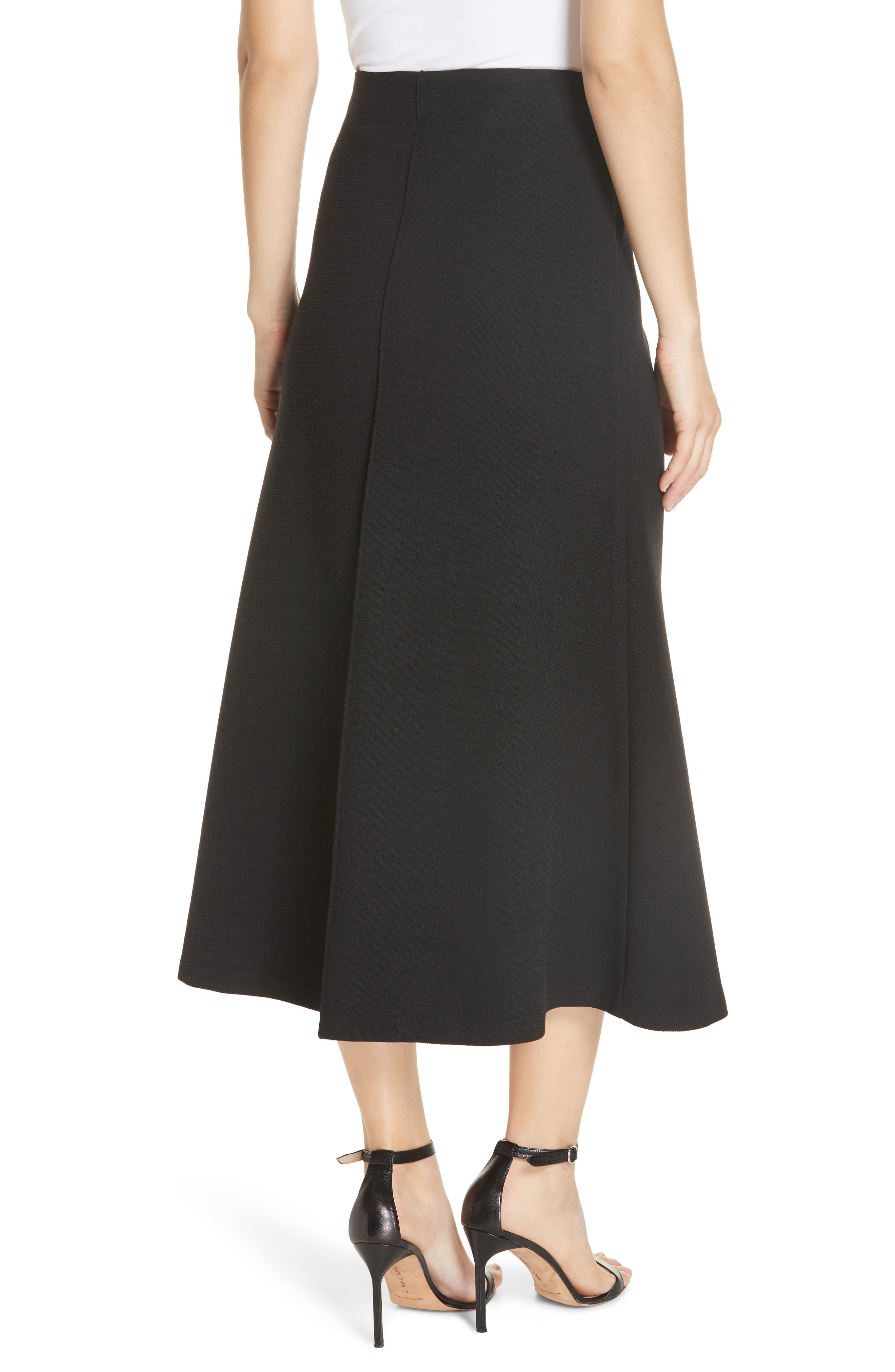 Fit & Flare Midi Skirt,                             Alternate thumbnail 2, color,                             BLACK PIQUE