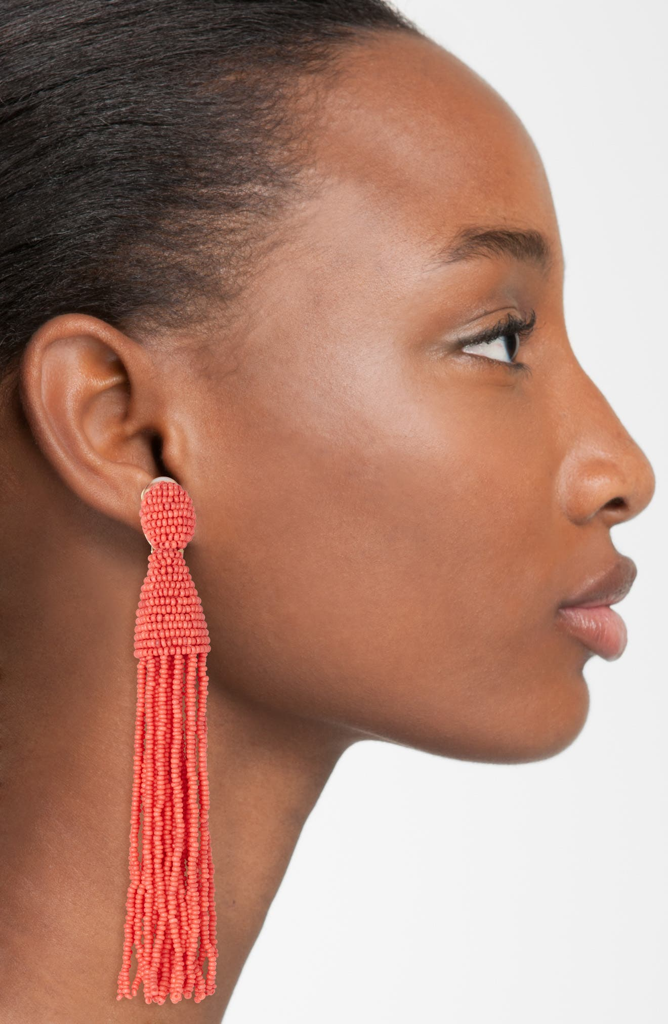 Long Tassel Drop Clip Earrings,                             Alternate thumbnail 2, color,                             CORAL
