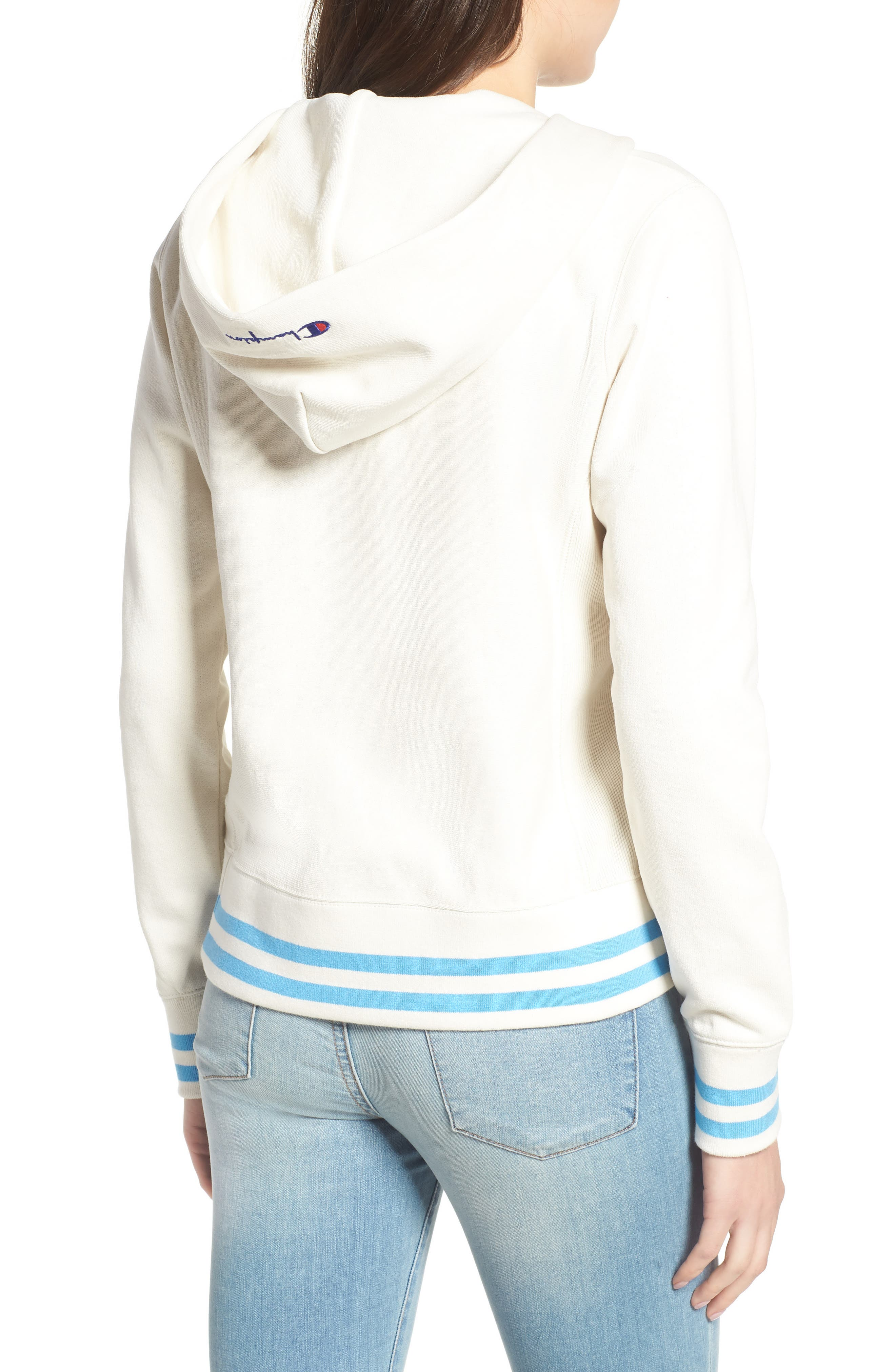 CHAMPION,                             Lace-Up Terry Hoodie,                             Alternate thumbnail 2, color,                             110