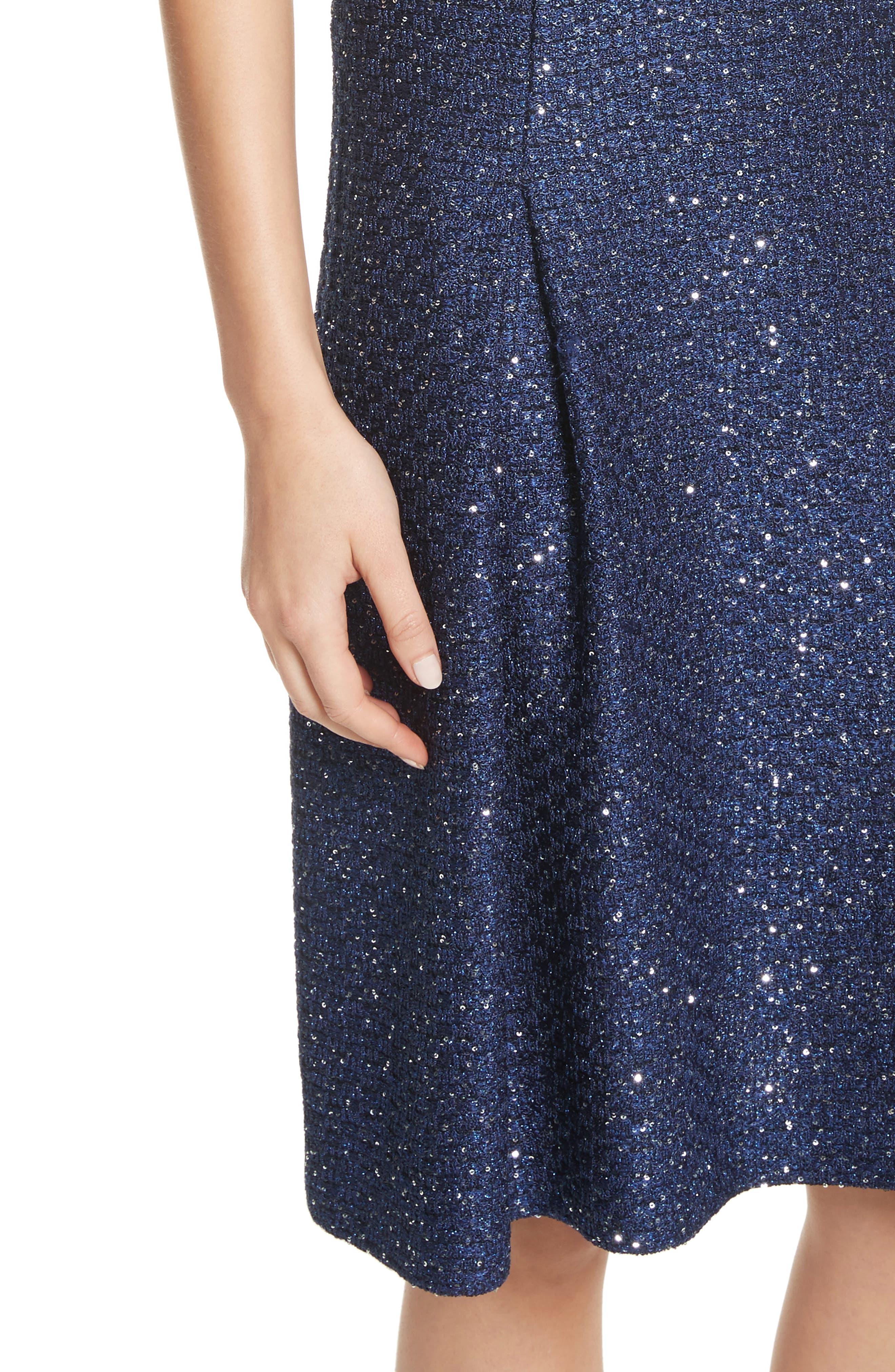 Sparkle Sequin Knit Fit & Flare Dress,                             Alternate thumbnail 4, color,                             410