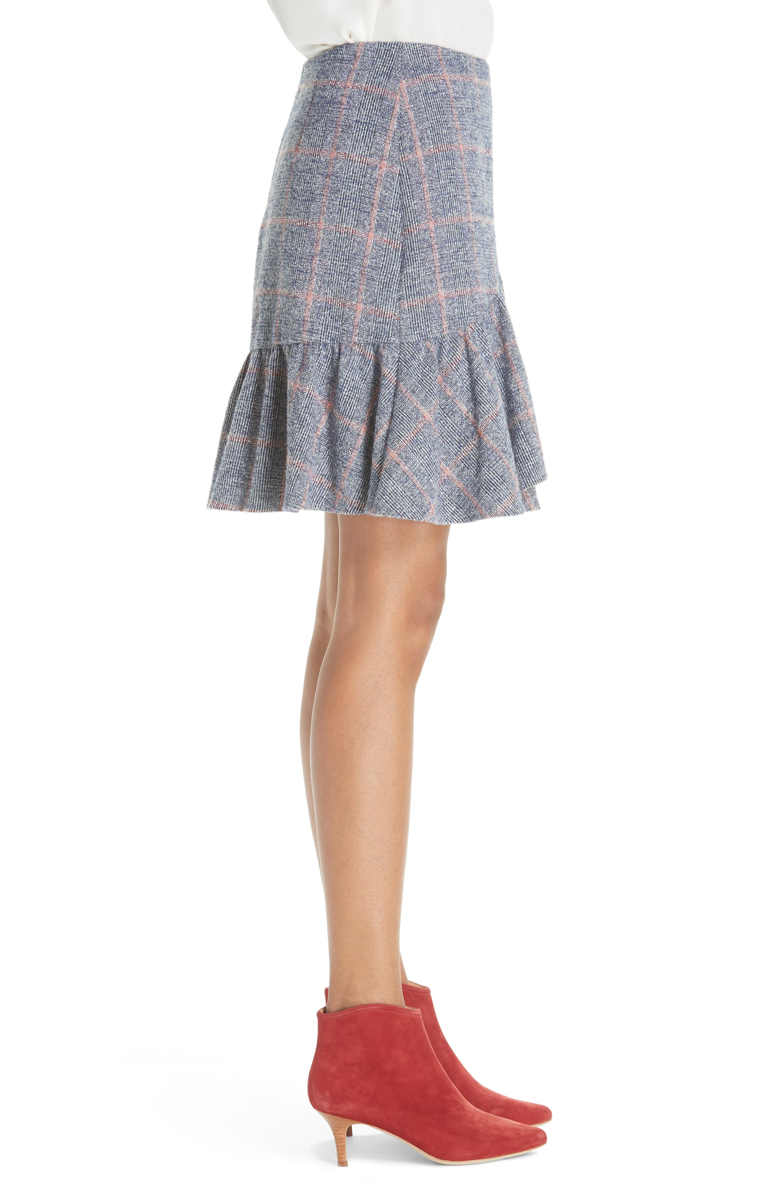 Cotton Wool Blend Plaid Ruffle Mini Skirt,                             Alternate thumbnail 3, color,                             482