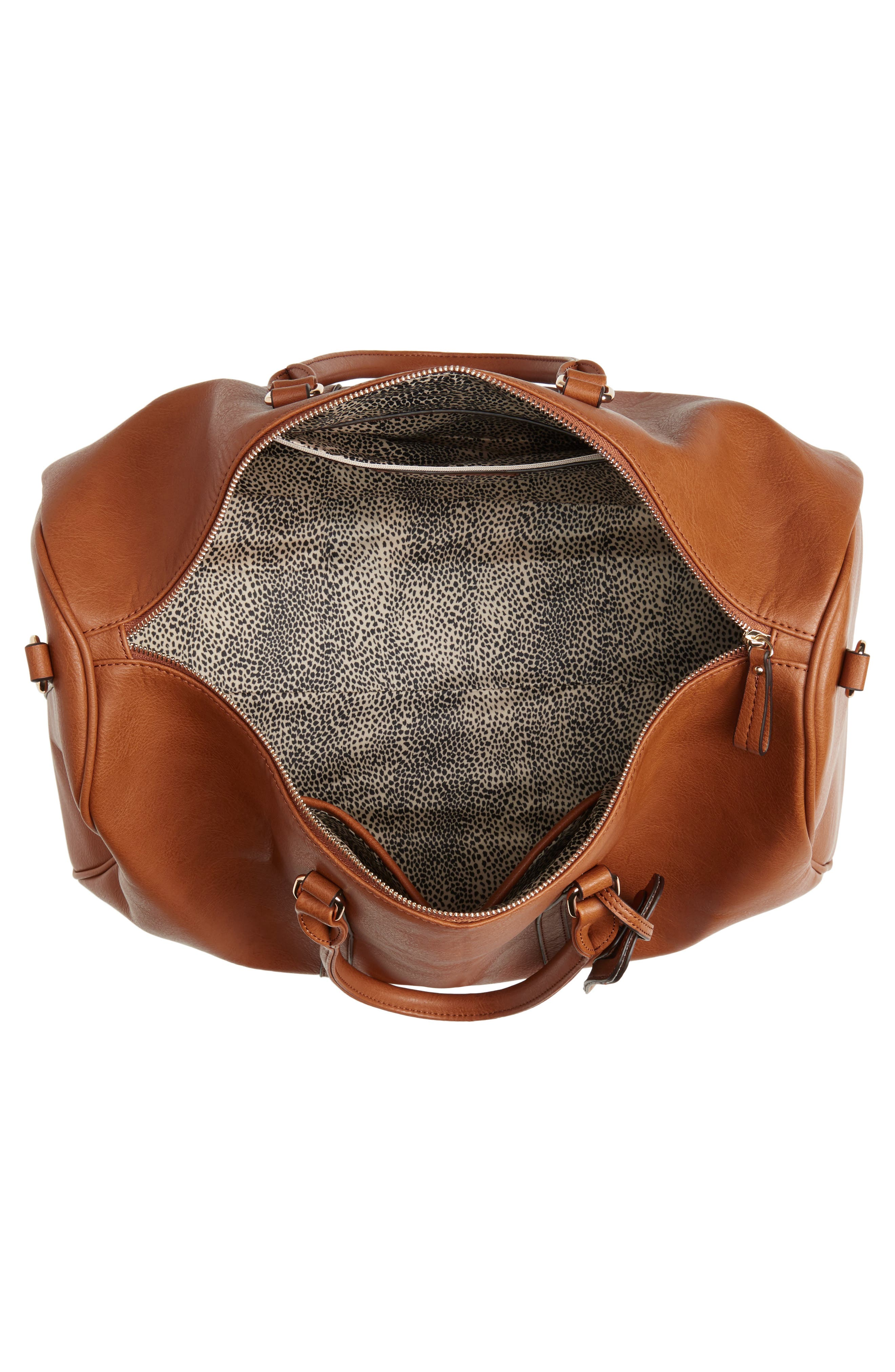 SOLE SOCIETY,                             'Lacie' Faux Leather Duffel Bag,                             Alternate thumbnail 2, color,                             BROWN