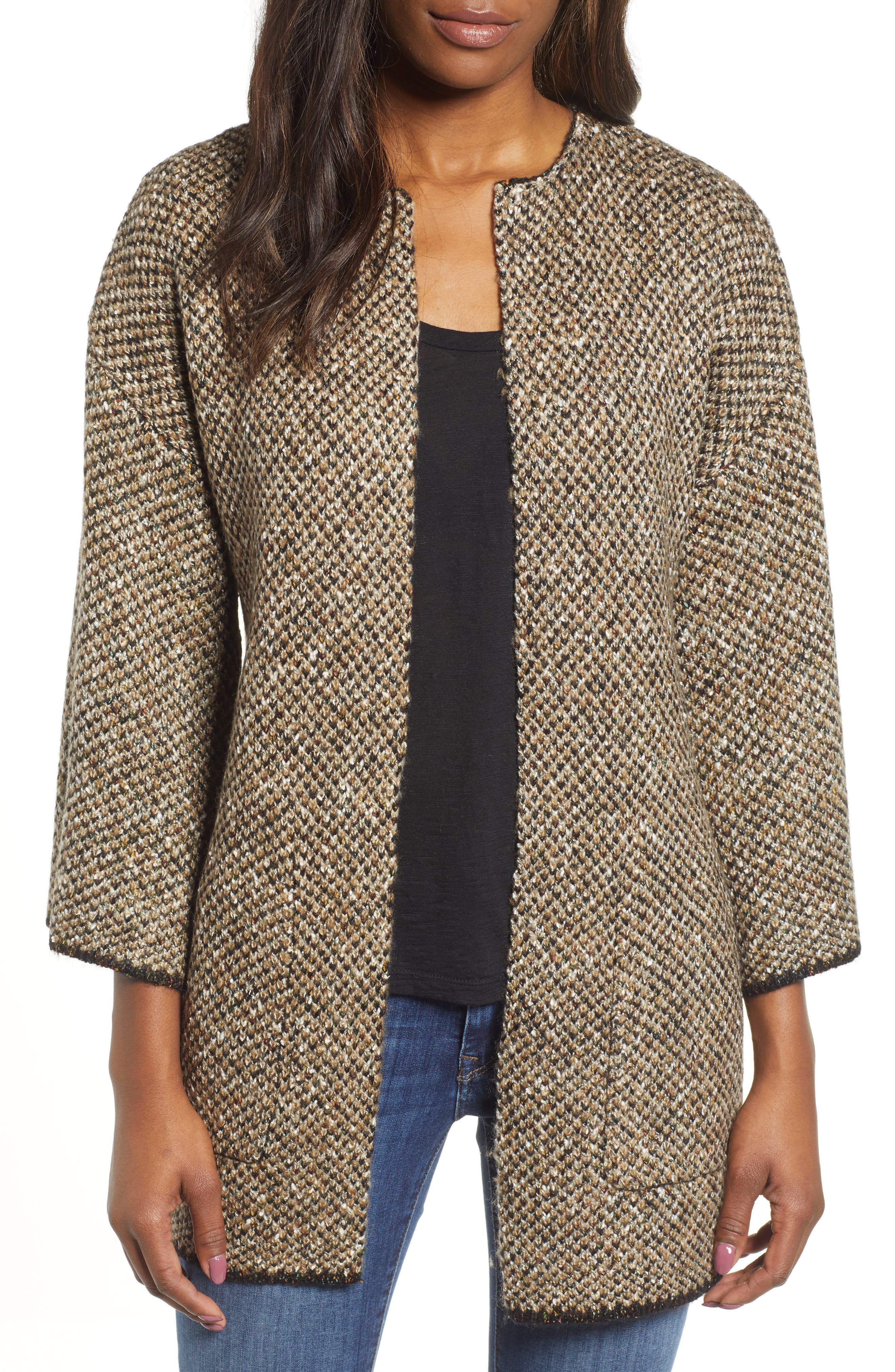 WIT & WISDOM,                             Reversible Tiger Jacquard Sweater Jacket,                             Alternate thumbnail 2, color,                             TAUPE