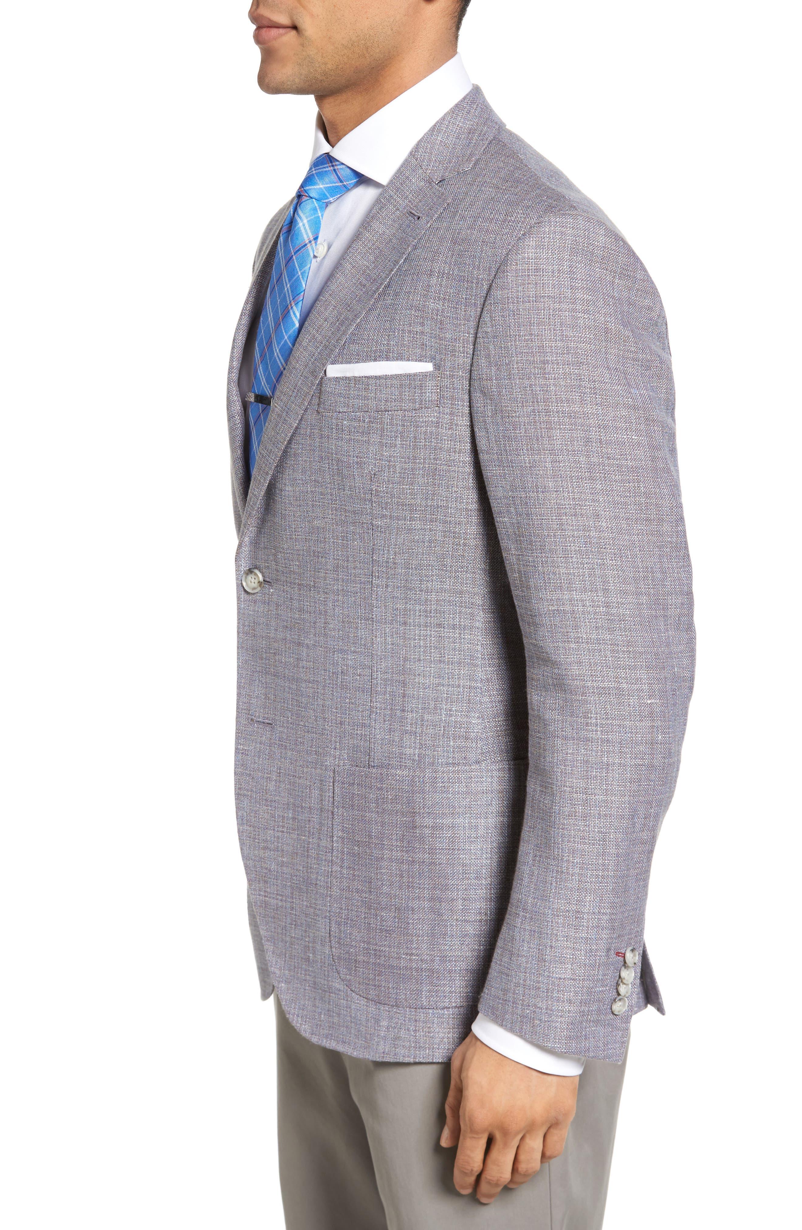 JKT NEW YORK,                             Trim Fit Wool & Linen Blazer,                             Alternate thumbnail 3, color,                             020