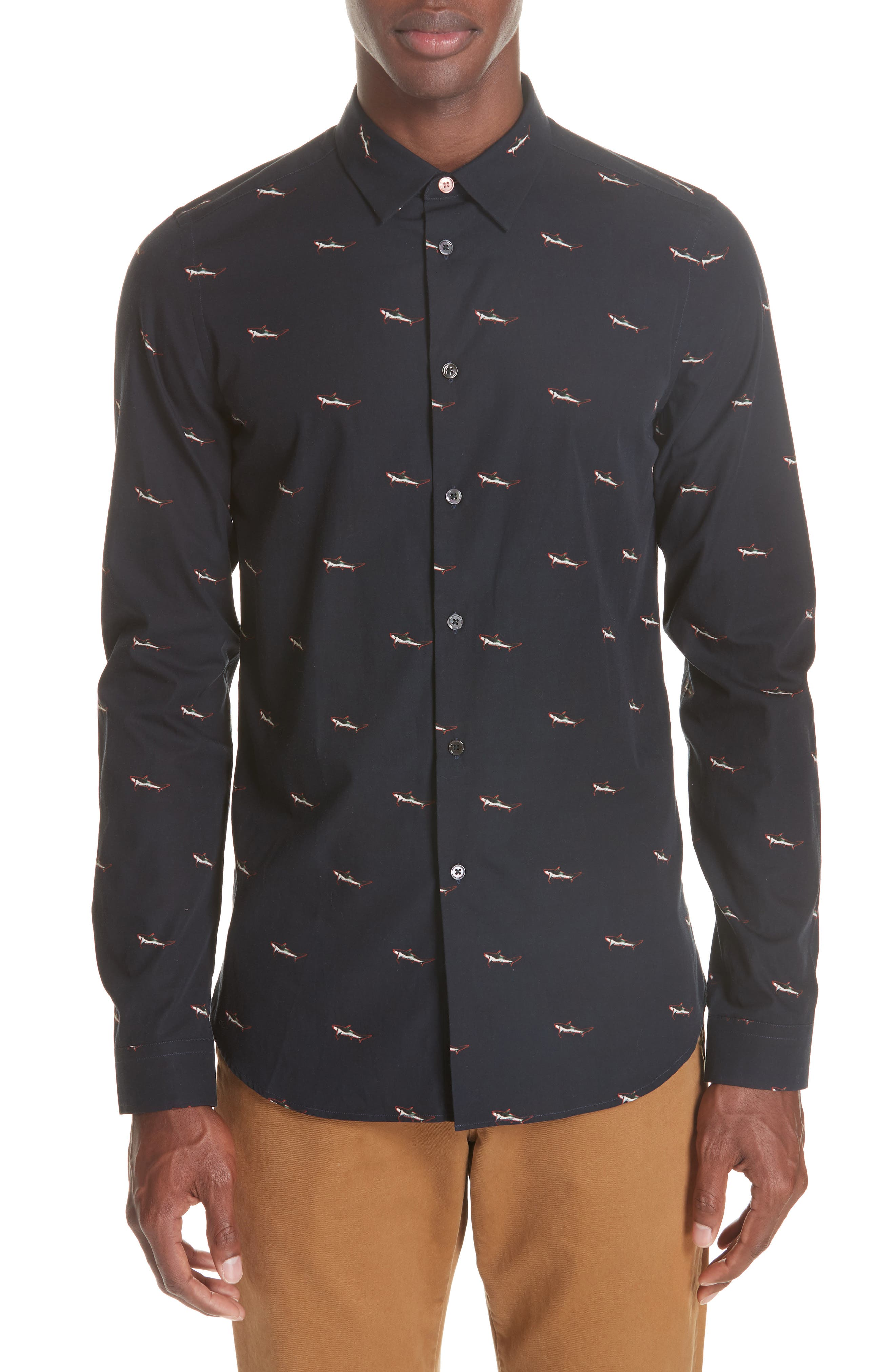 Shark Print Sport Shirt, Main, color, 419