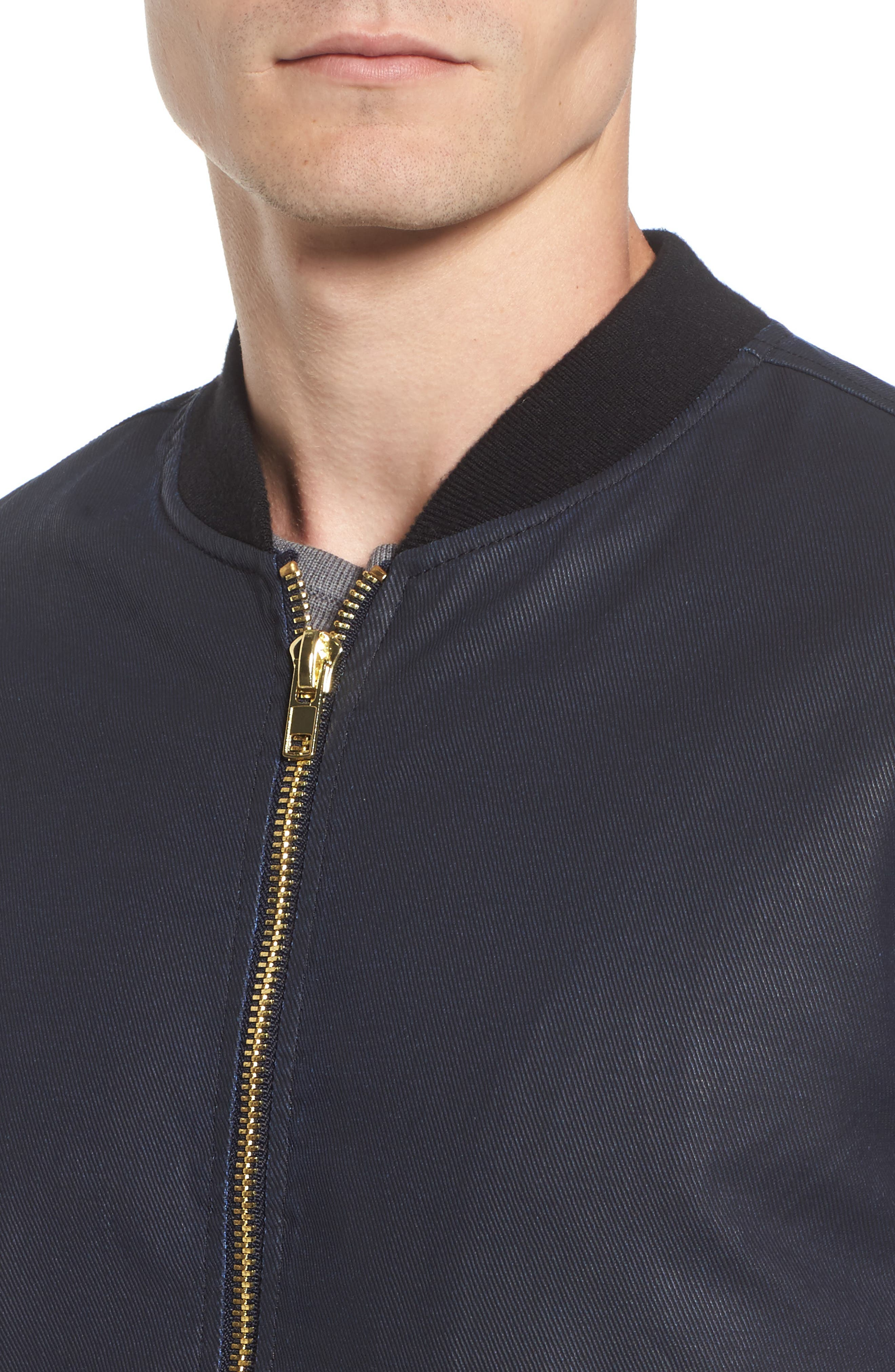 Coated Zip Front Jacket,                             Alternate thumbnail 4, color,                             NAVY