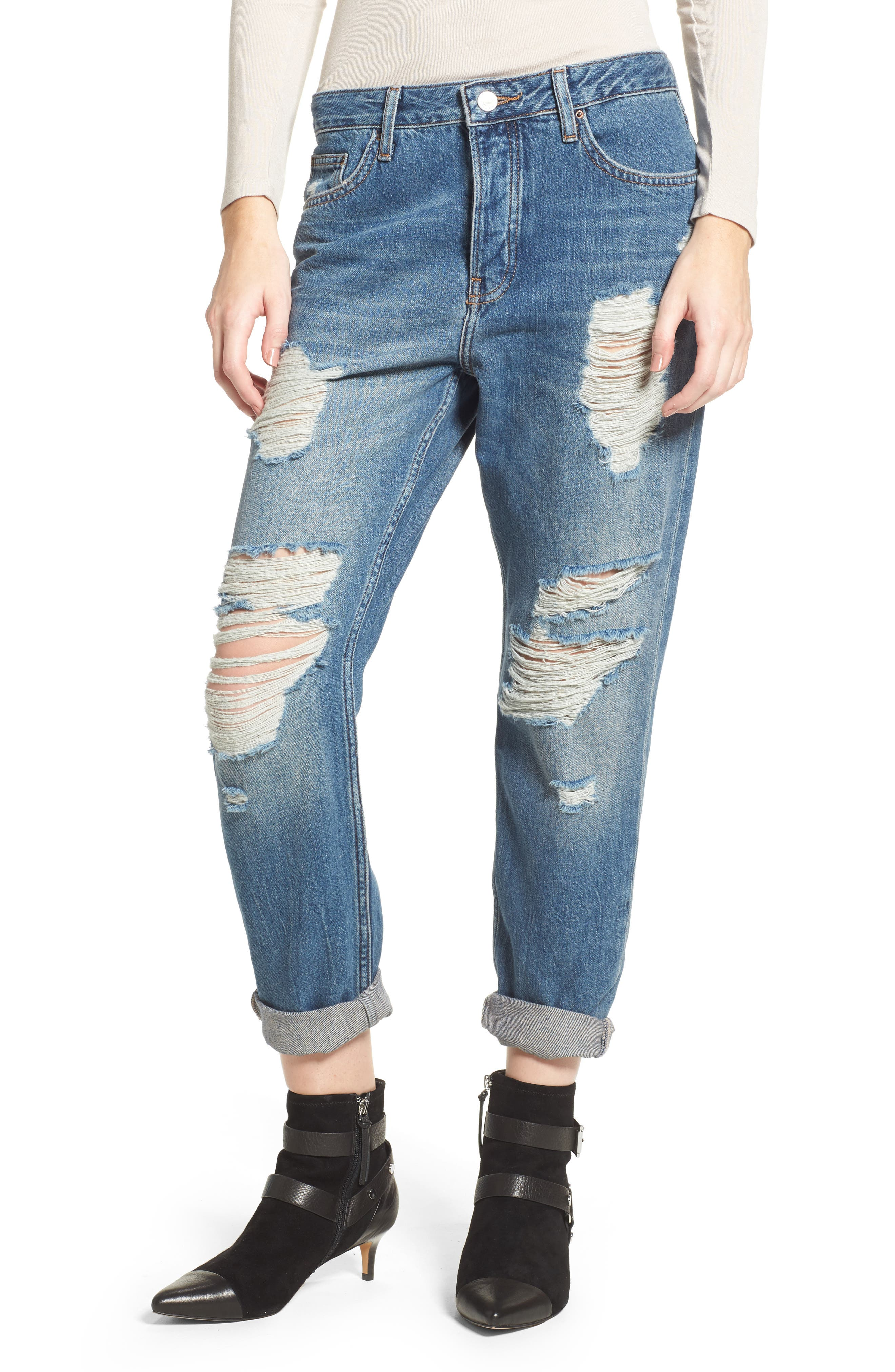 Hayden Super Ripped Boyfriend Jeans,                             Main thumbnail 1, color,