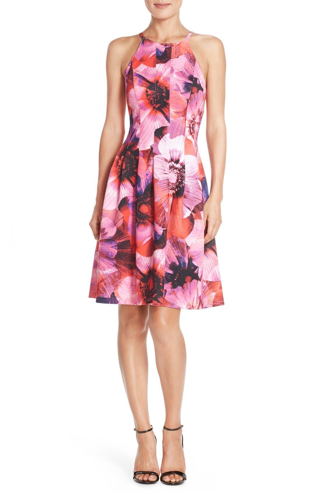 Floral Print Pleated Scuba Fit & Flare Dress,                             Alternate thumbnail 4, color,                             688