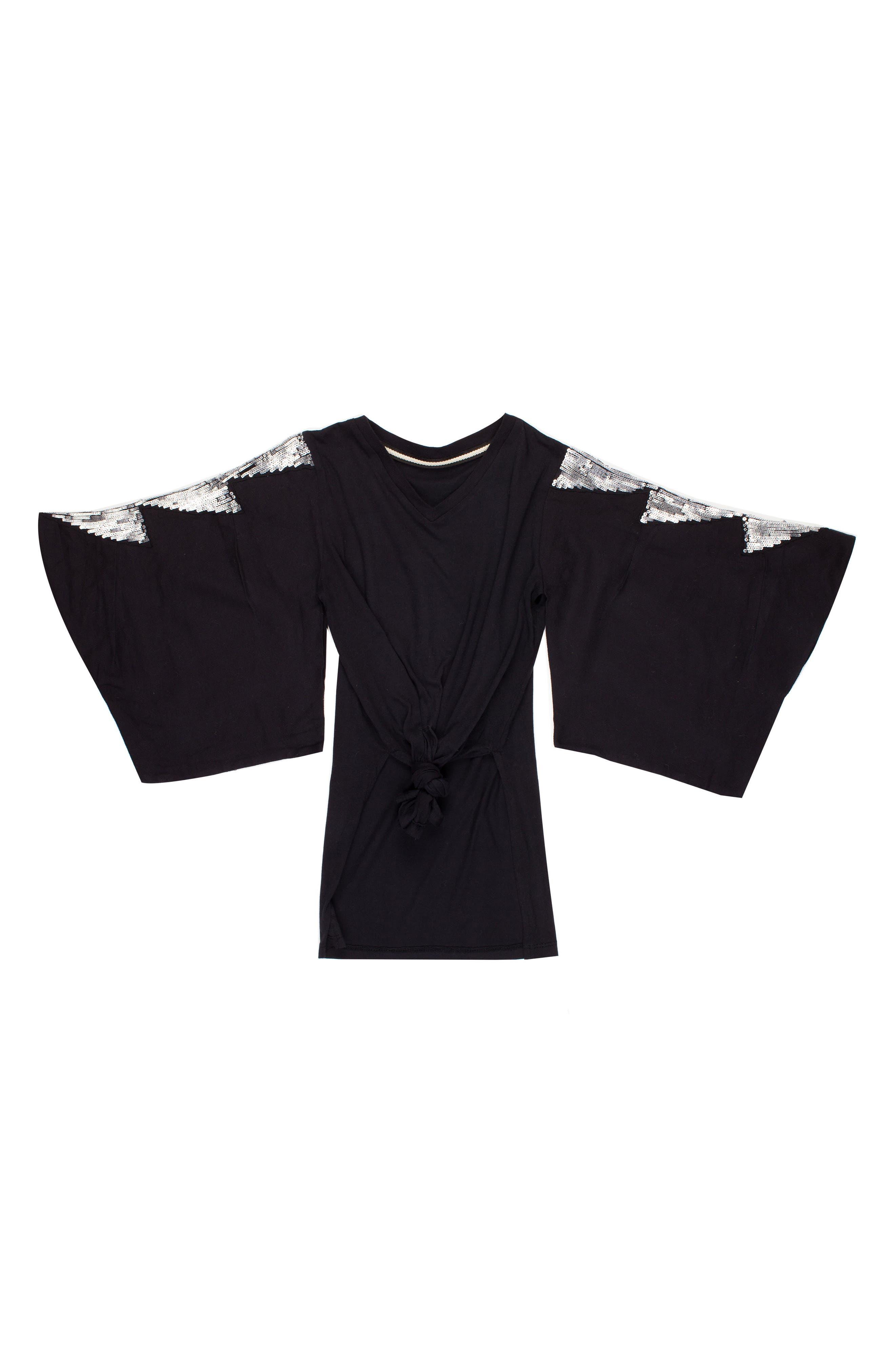 Glitter Kimono Sleeve Tee,                             Main thumbnail 1, color,                             BLACK
