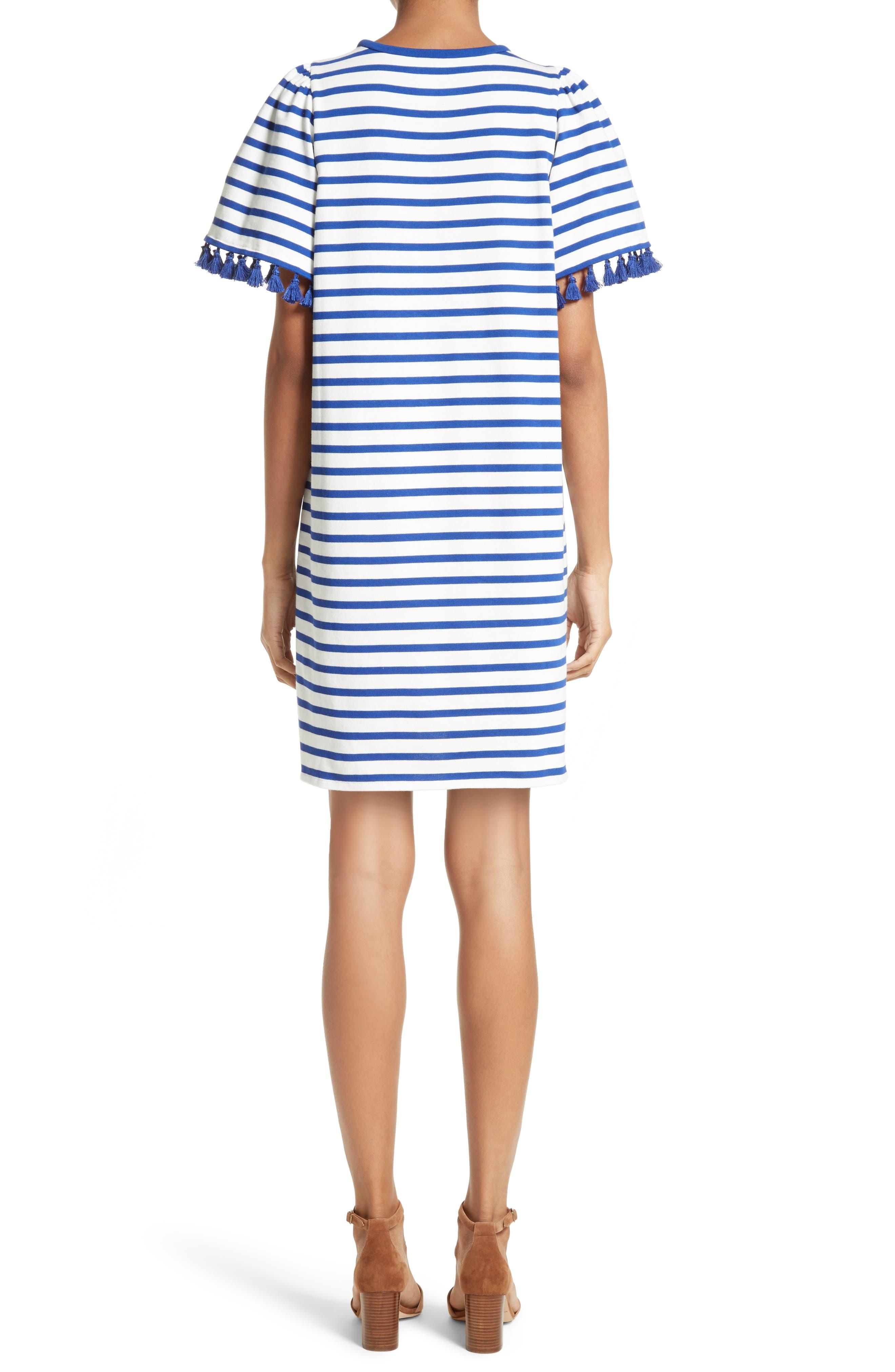 stripe flutter sleeve dress,                             Alternate thumbnail 2, color,                             137