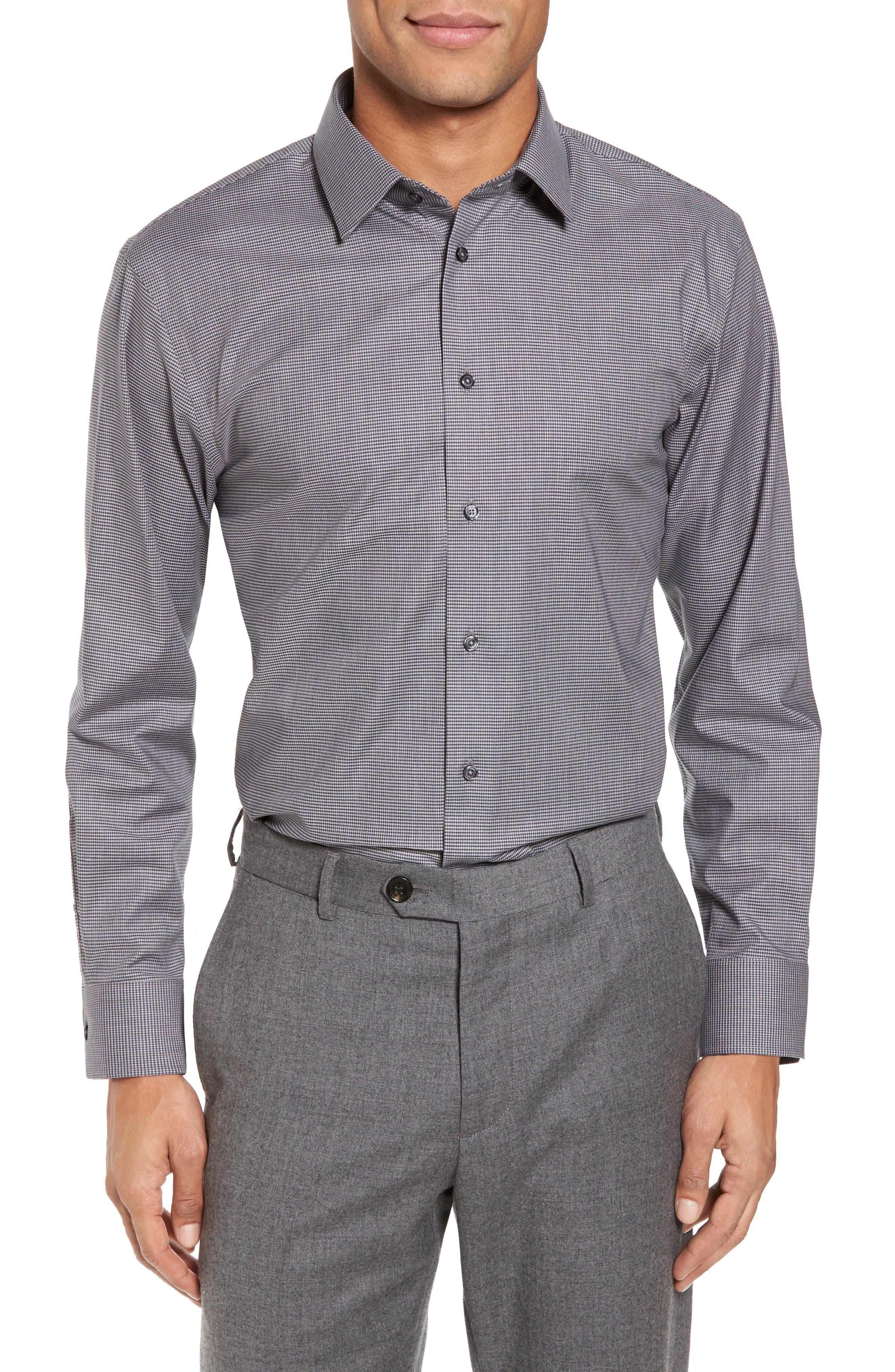 Trim Fit No-Iron Micro Houndstooth Stretch Dress Shirt,                         Main,                         color,