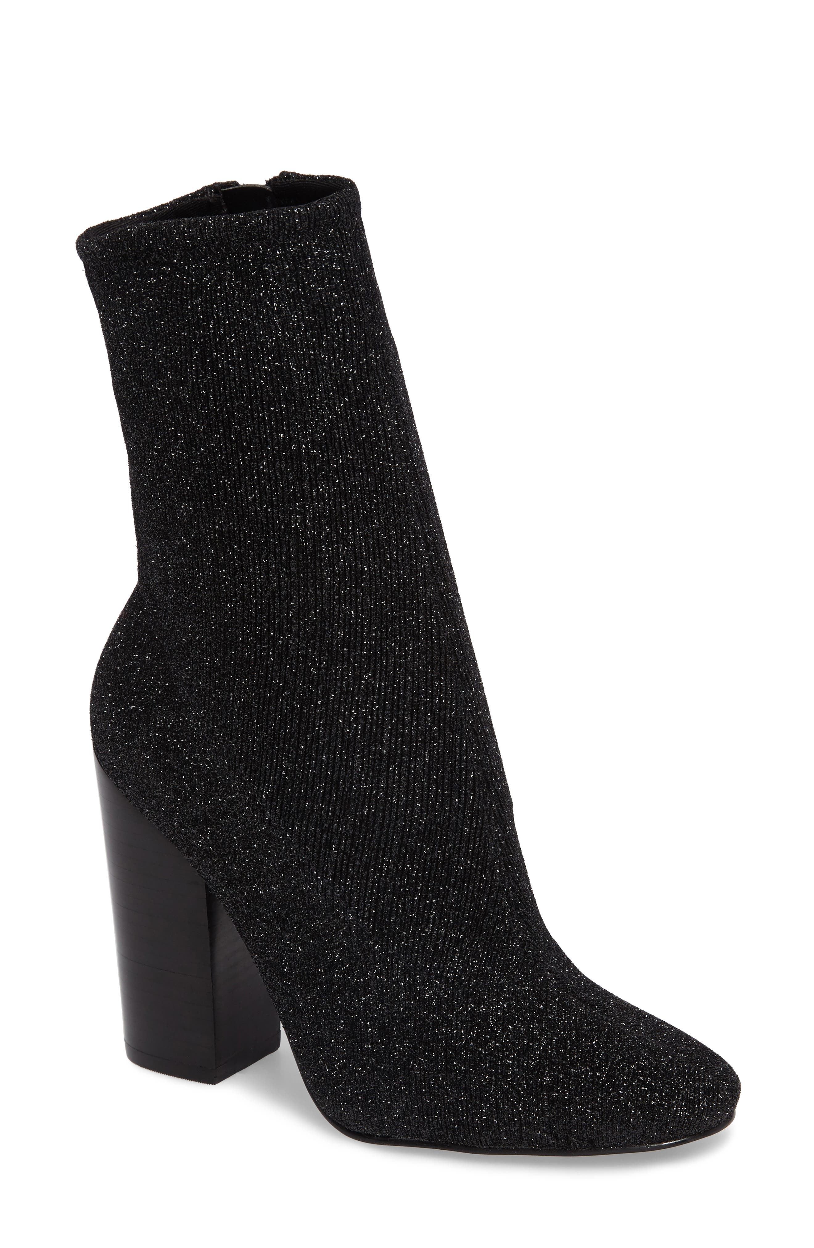 Hailey Glitter Sock Bootie,                             Main thumbnail 1, color,                             009