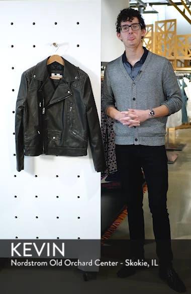 Classic Fit Faux Leather Biker Jacket, sales video thumbnail