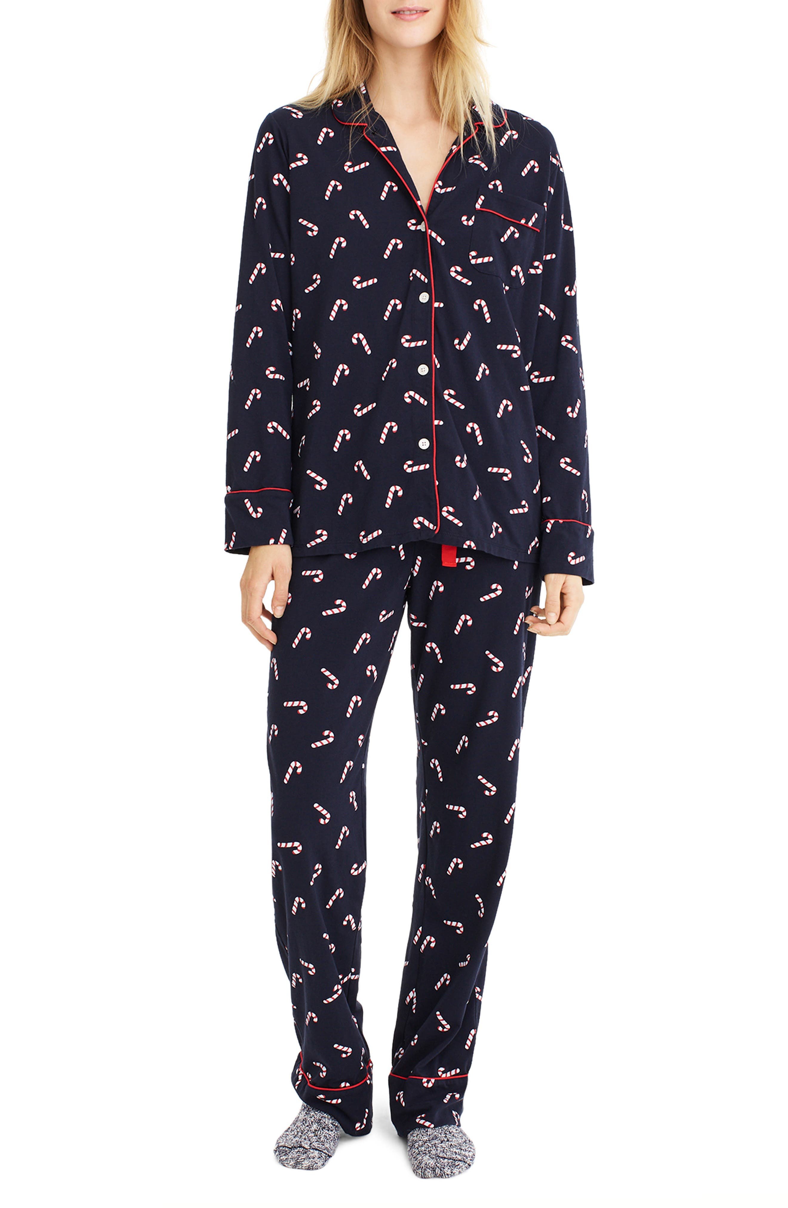 J.CREW Candy Cane Dreamy Pajamas, Main, color, 409