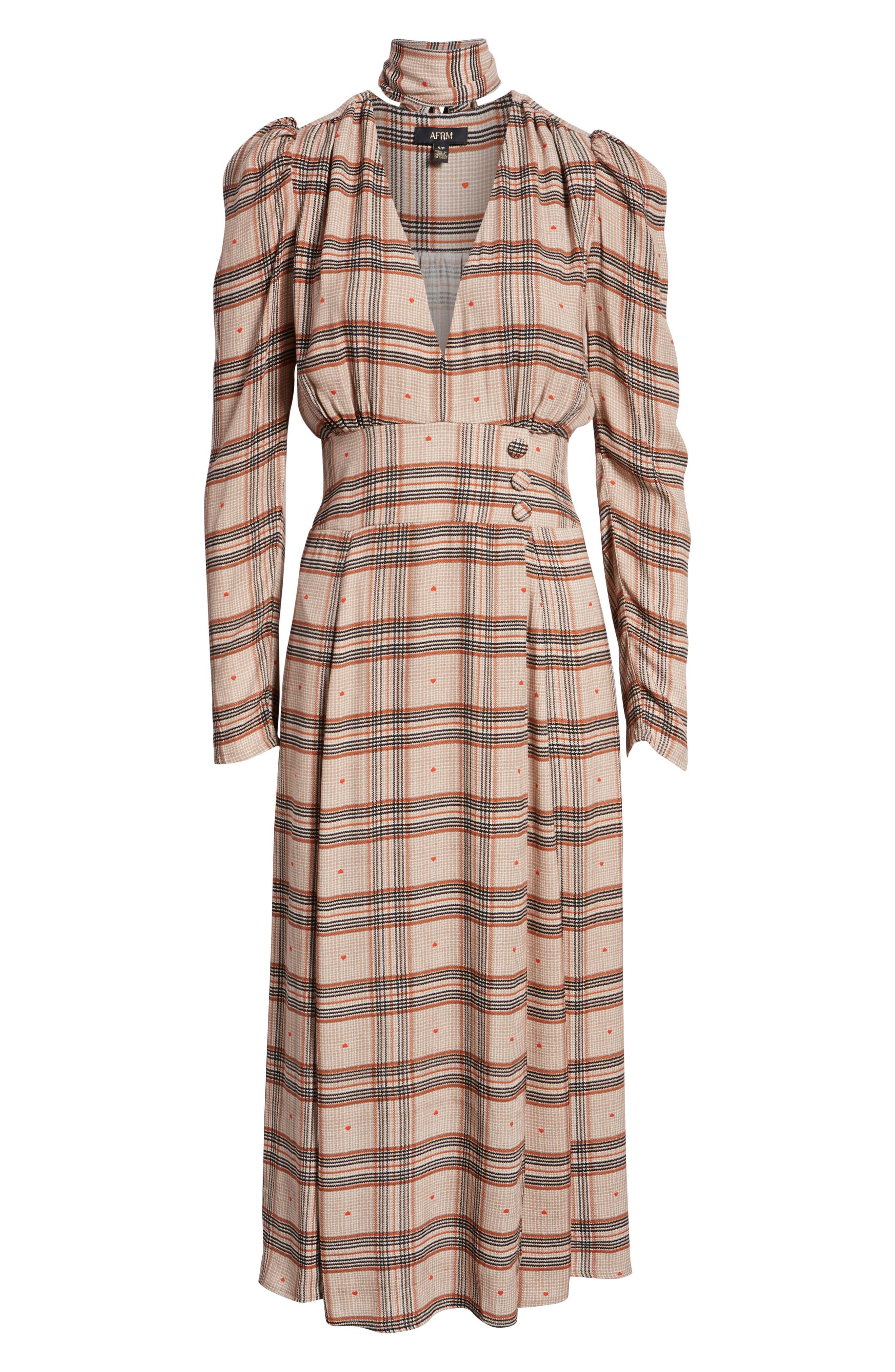 Quinn Wrap Midi Dress,                             Alternate thumbnail 7, color,                             PLAID WITH HEART
