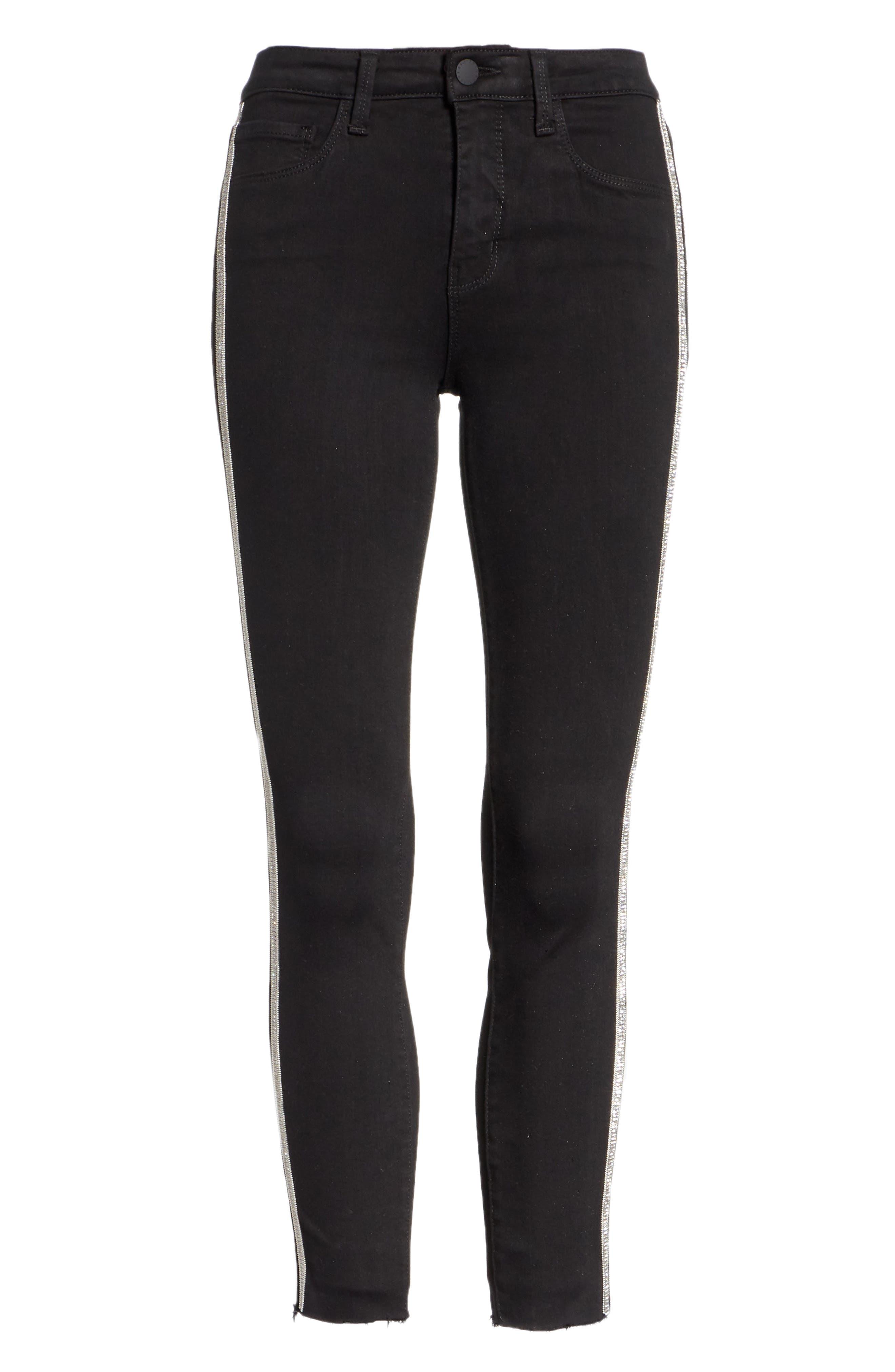 L'AGENCE,                             Margot Embellished Side Stripe Crop Skinny Jeans,                             Alternate thumbnail 6, color,                             NOIR