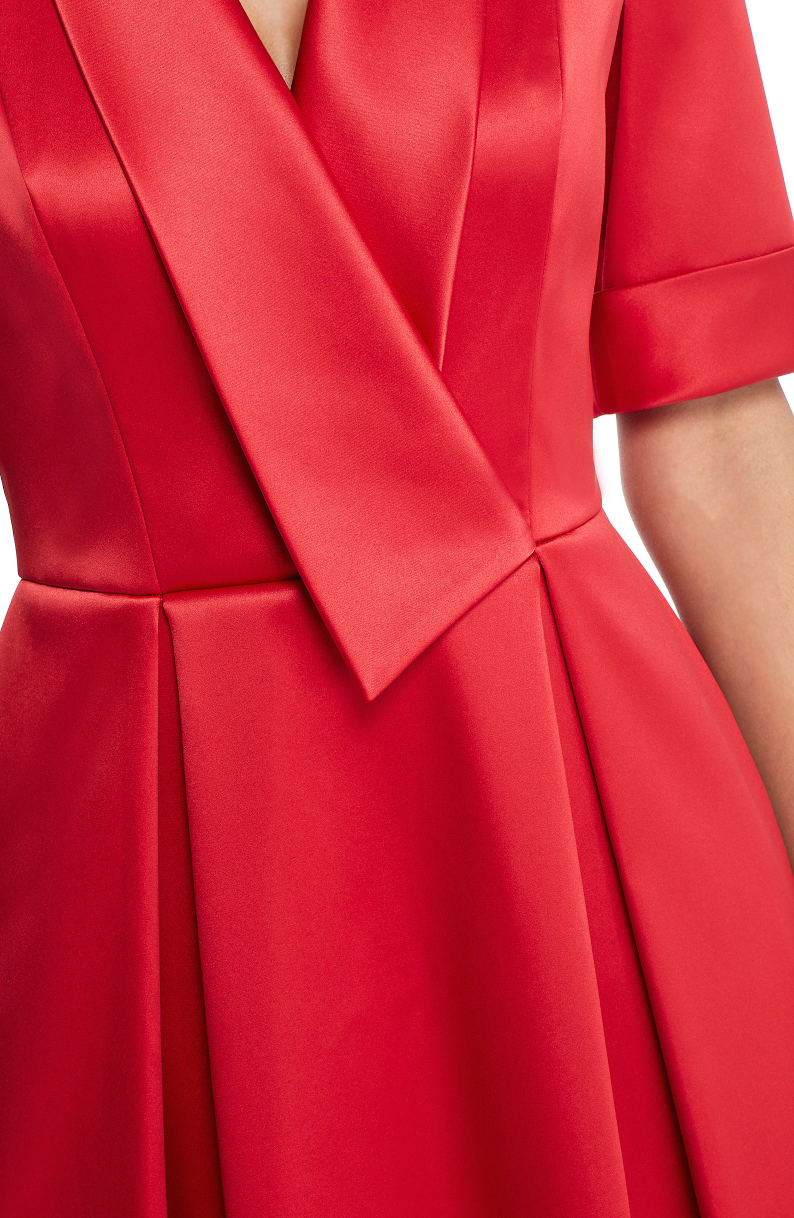 GAL MEETS GLAM COLLECTION,                             Ruby Royal Satin Asymmetrical Collar Dress,                             Alternate thumbnail 4, color,                             RUBY