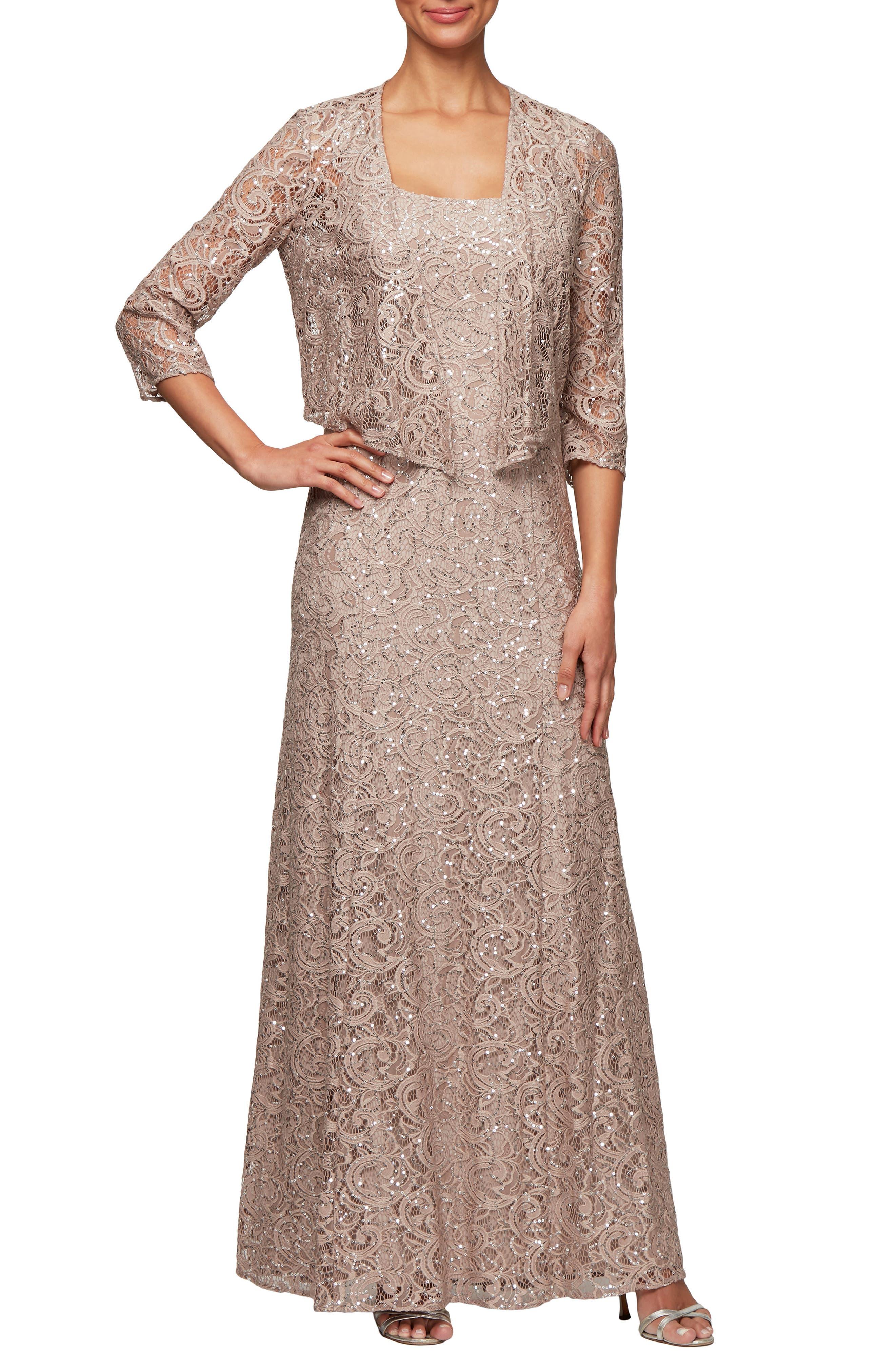 Alex Evenings Sequin Lace Jacket Gown, 8 (similar to 1) - Beige