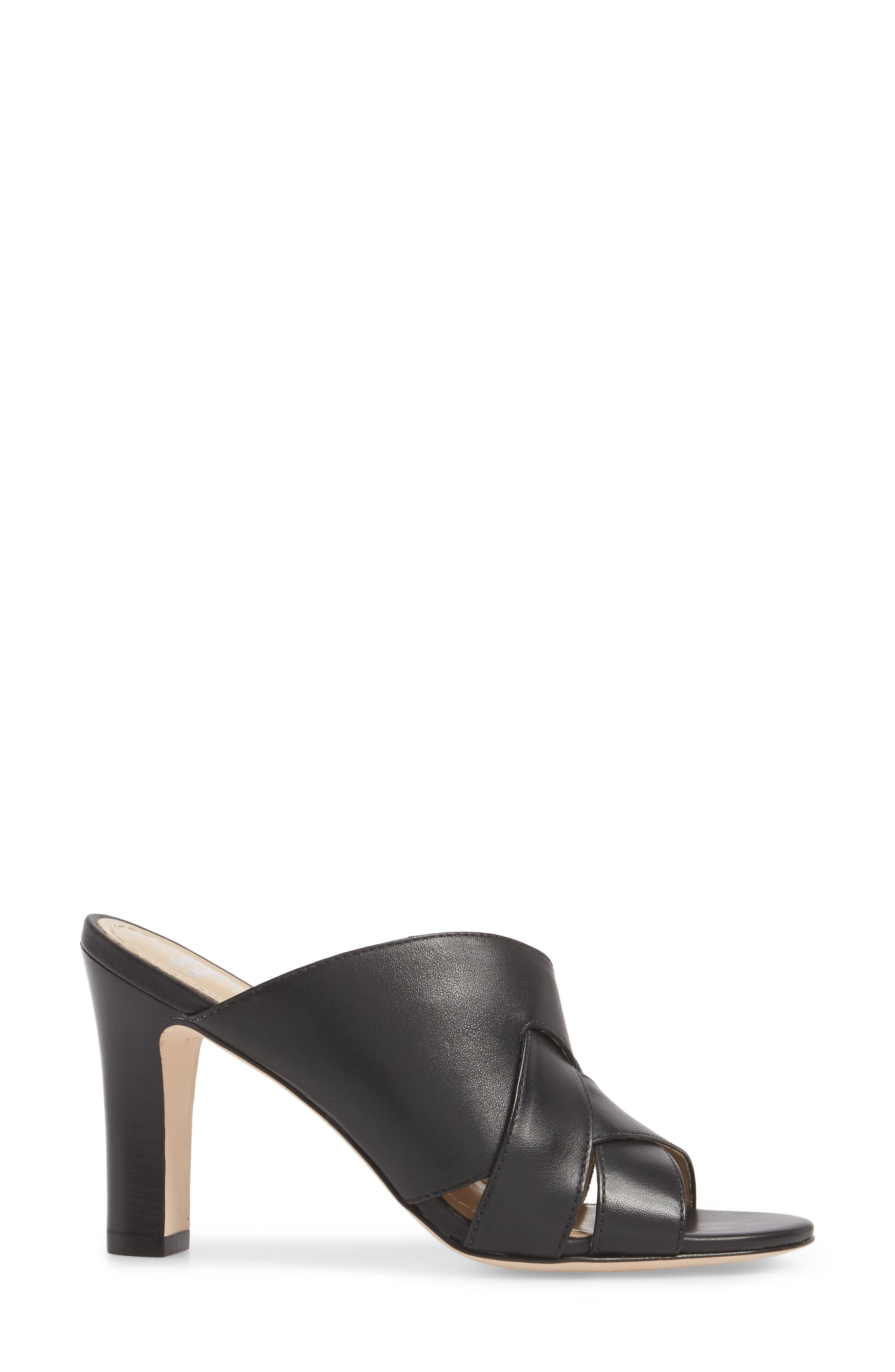 Carrie Mule Sandal,                             Alternate thumbnail 3, color,                             BLACK LEATHER