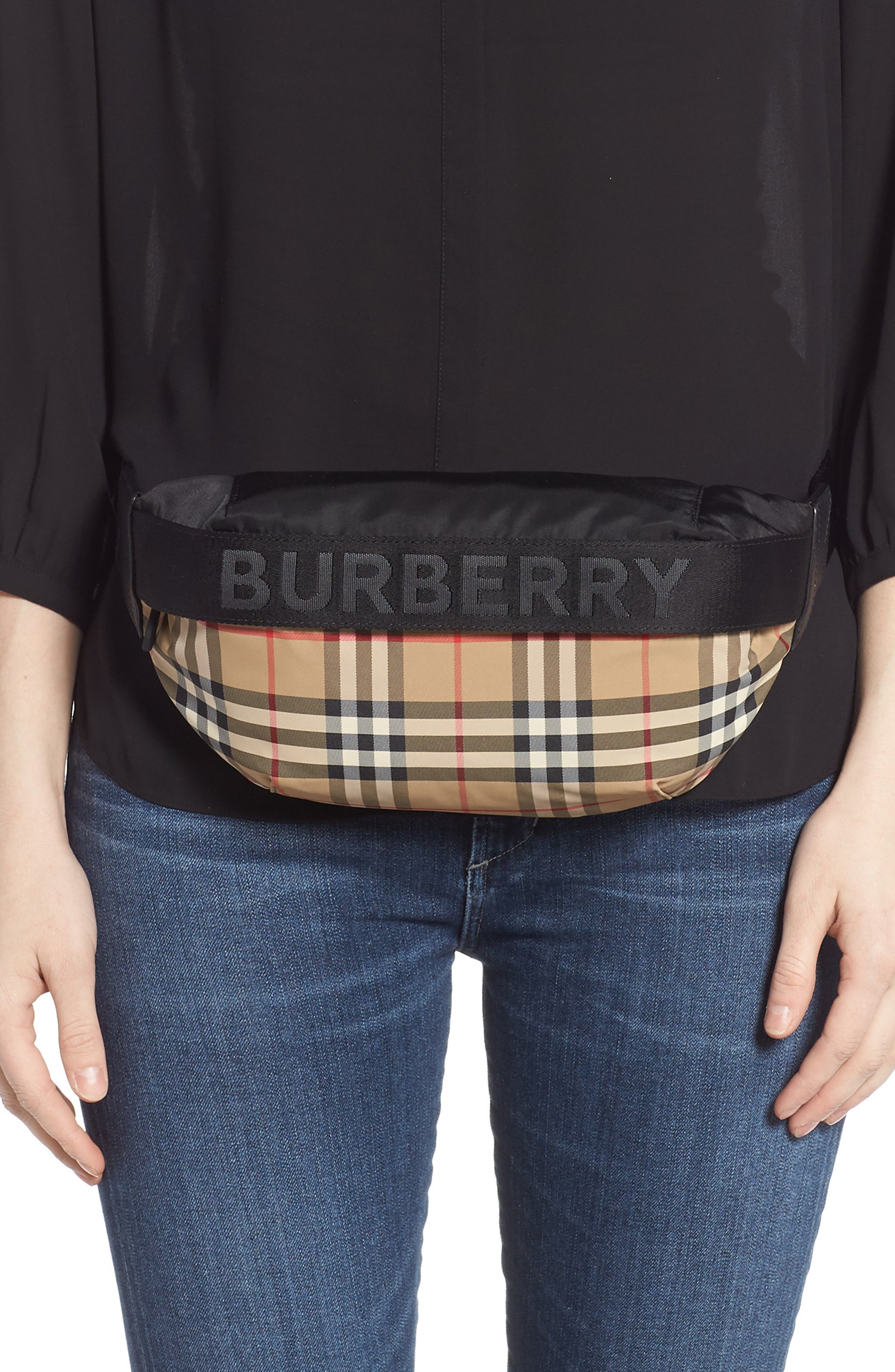 BURBERRY,                             Burberrry Medium Sonny Vintage Check Belt Bag,                             Alternate thumbnail 2, color,                             ARCHIVE BEIGE