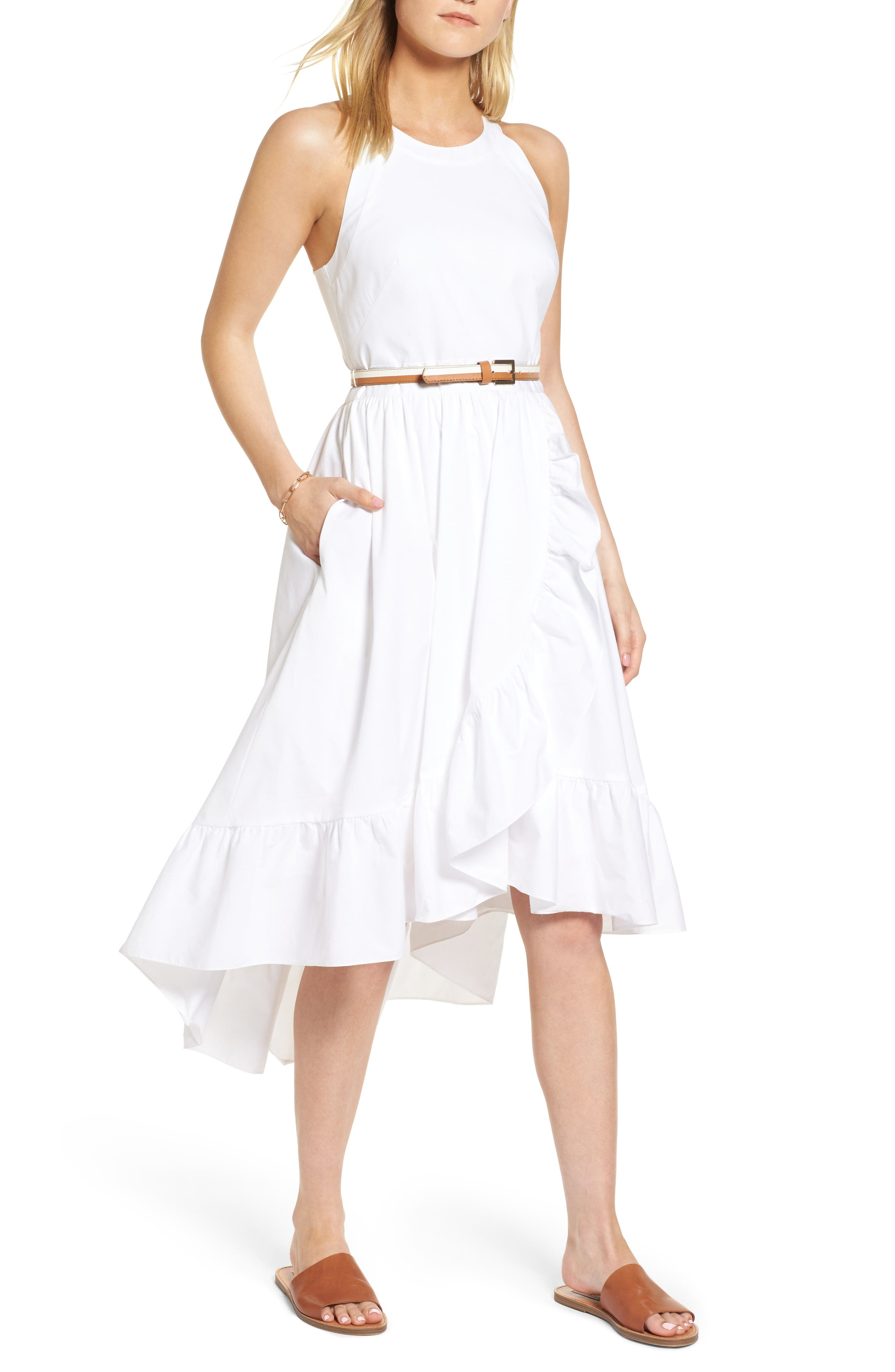 Belted High/Low Dress,                         Main,                         color, 100