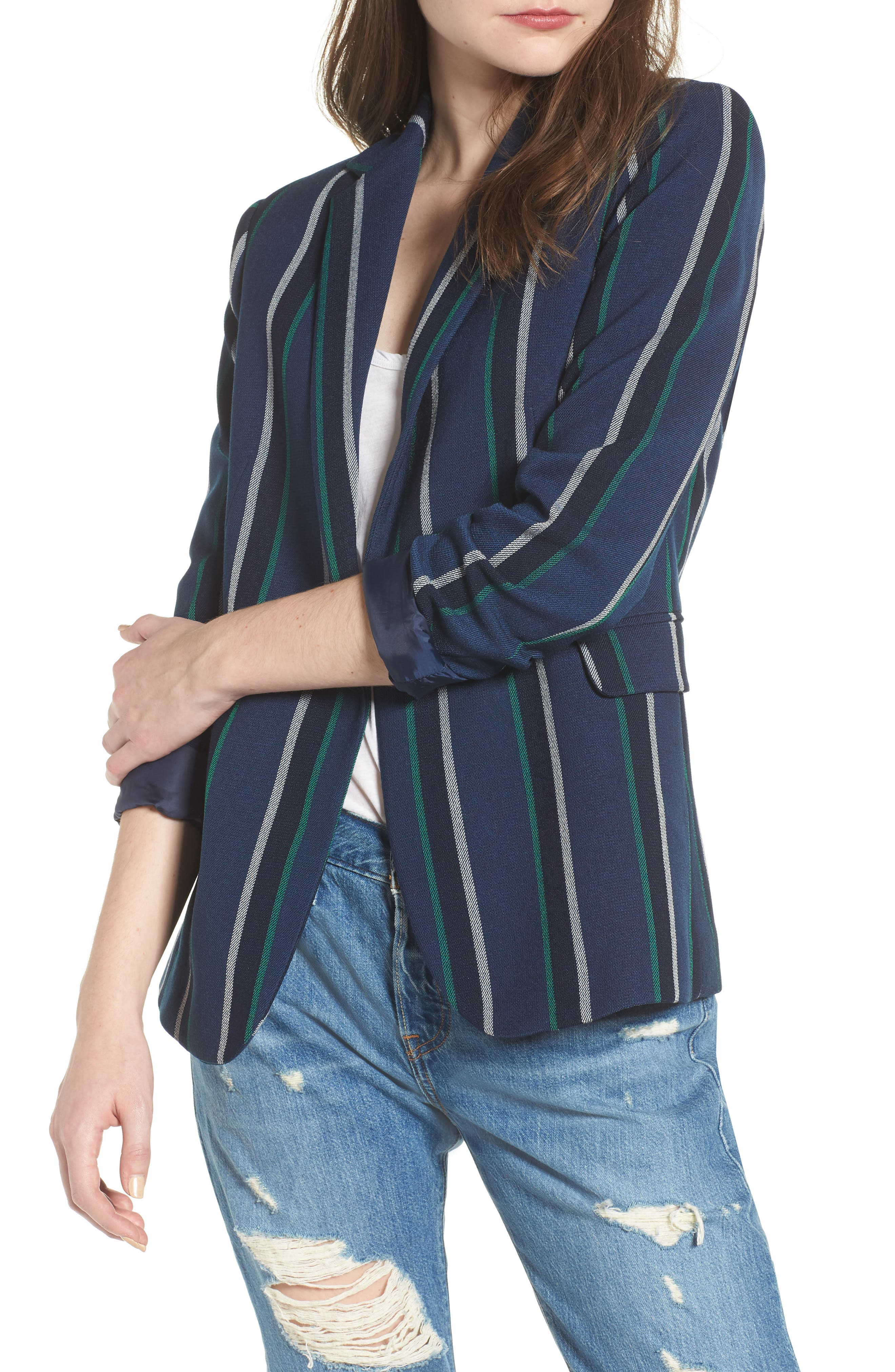 Stripe Blazer,                         Main,                         color, NAVY SEAFOAM