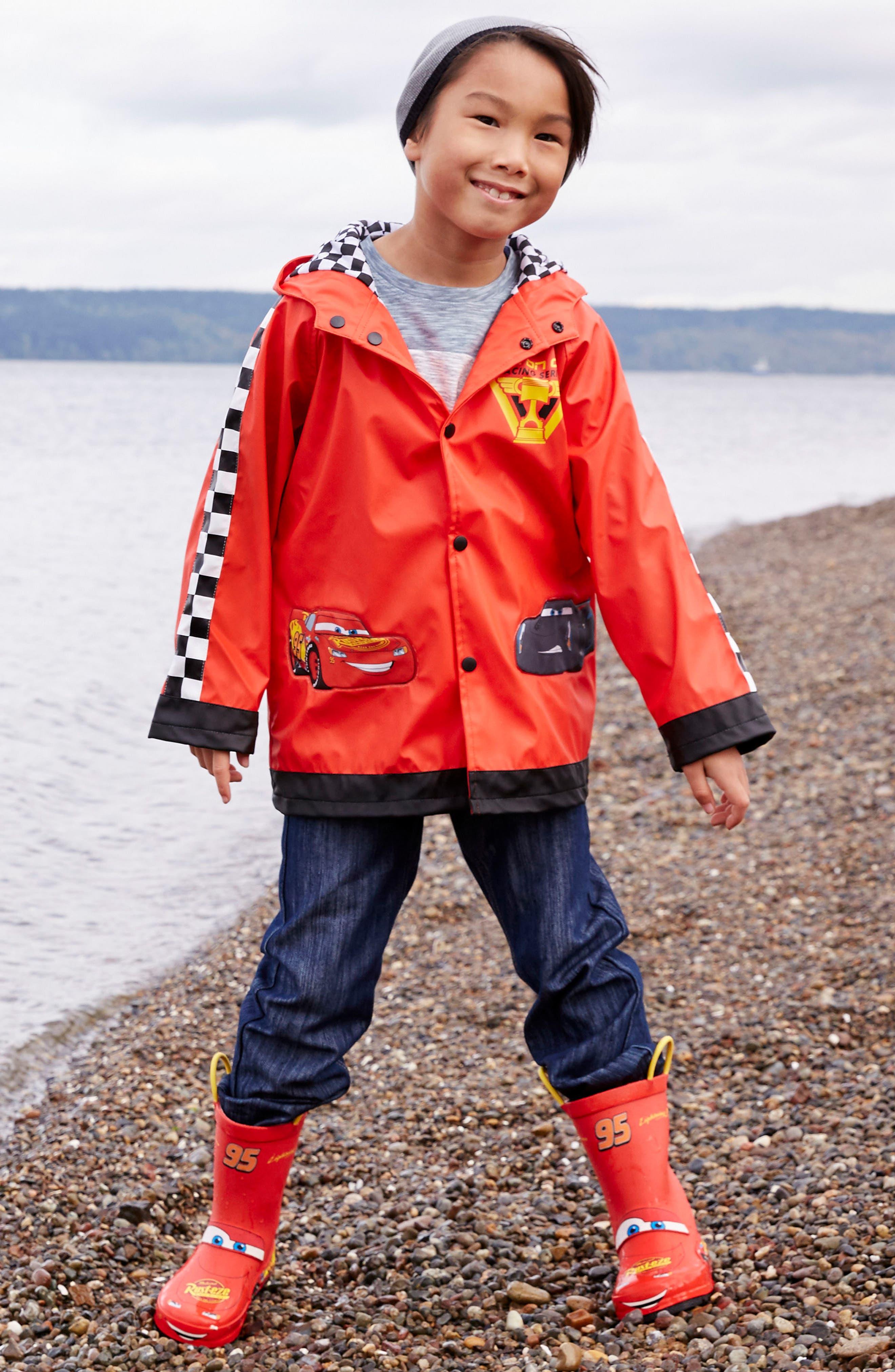 Lightning McQueen Hooded Raincoat,                             Alternate thumbnail 4, color,                             RED