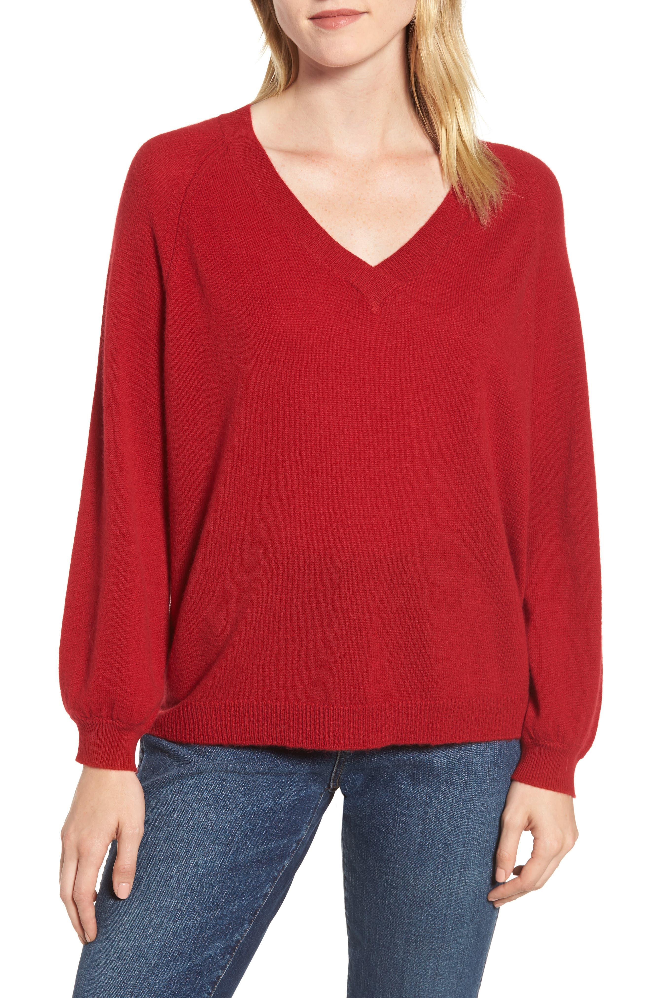 VELVET BY GRAHAM & SPENCER,                             Blouson Sleeve Cashmere Sweater,                             Main thumbnail 1, color,                             LIPSTICK